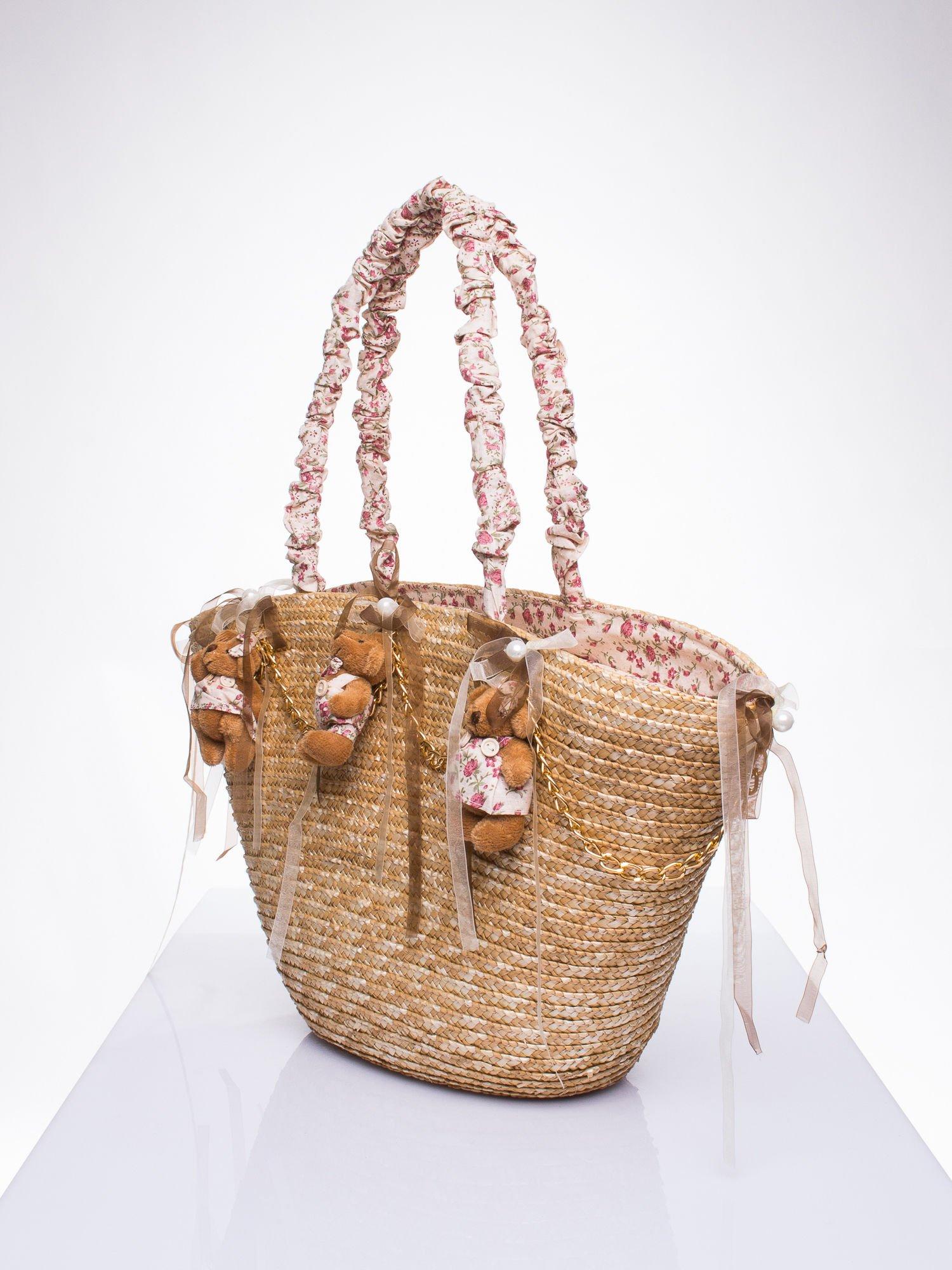 Kremowa torba koszyk plażowy w stylu romantic                                  zdj.                                  2