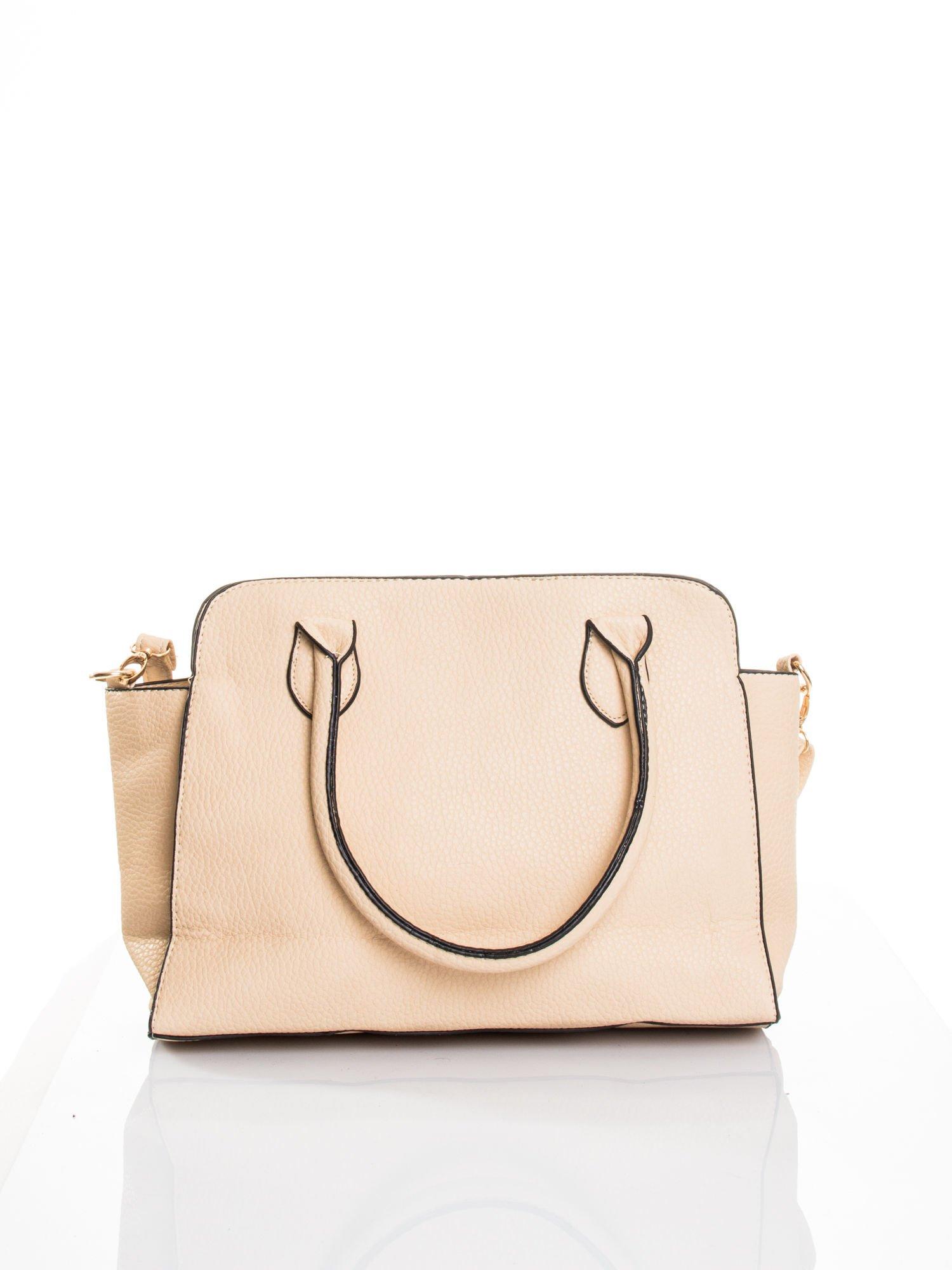 Kremowa torba z klamrami z odpinanym paskiem                                  zdj.                                  1