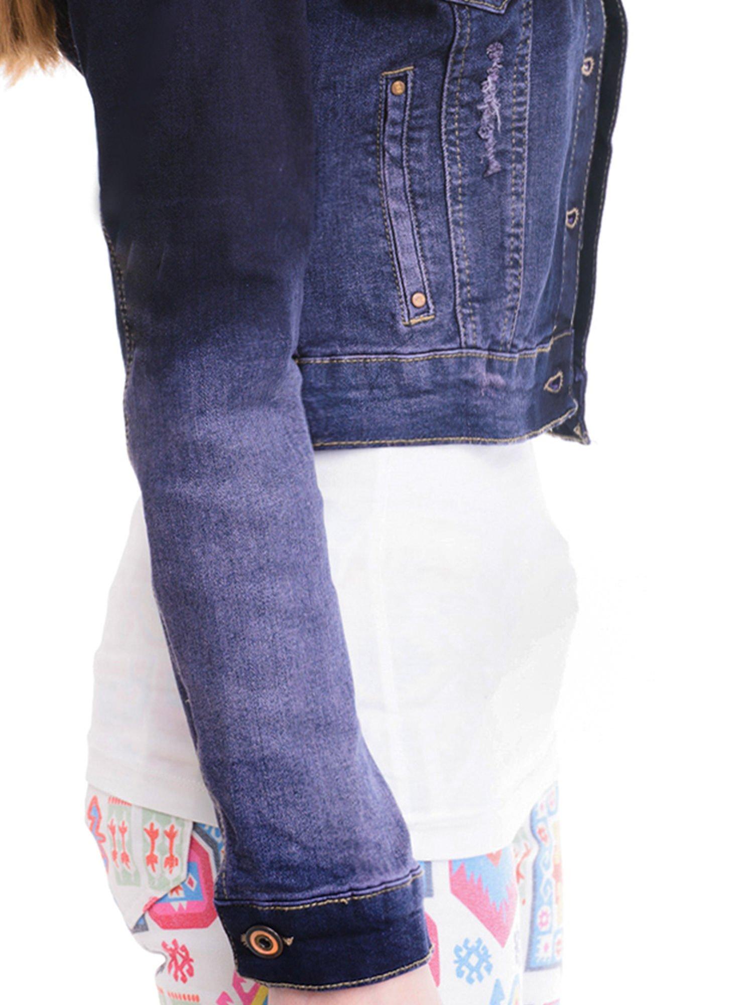 Kurtka jeansowa damska z efektem ombre w kolorze granatowym                                  zdj.                                  6