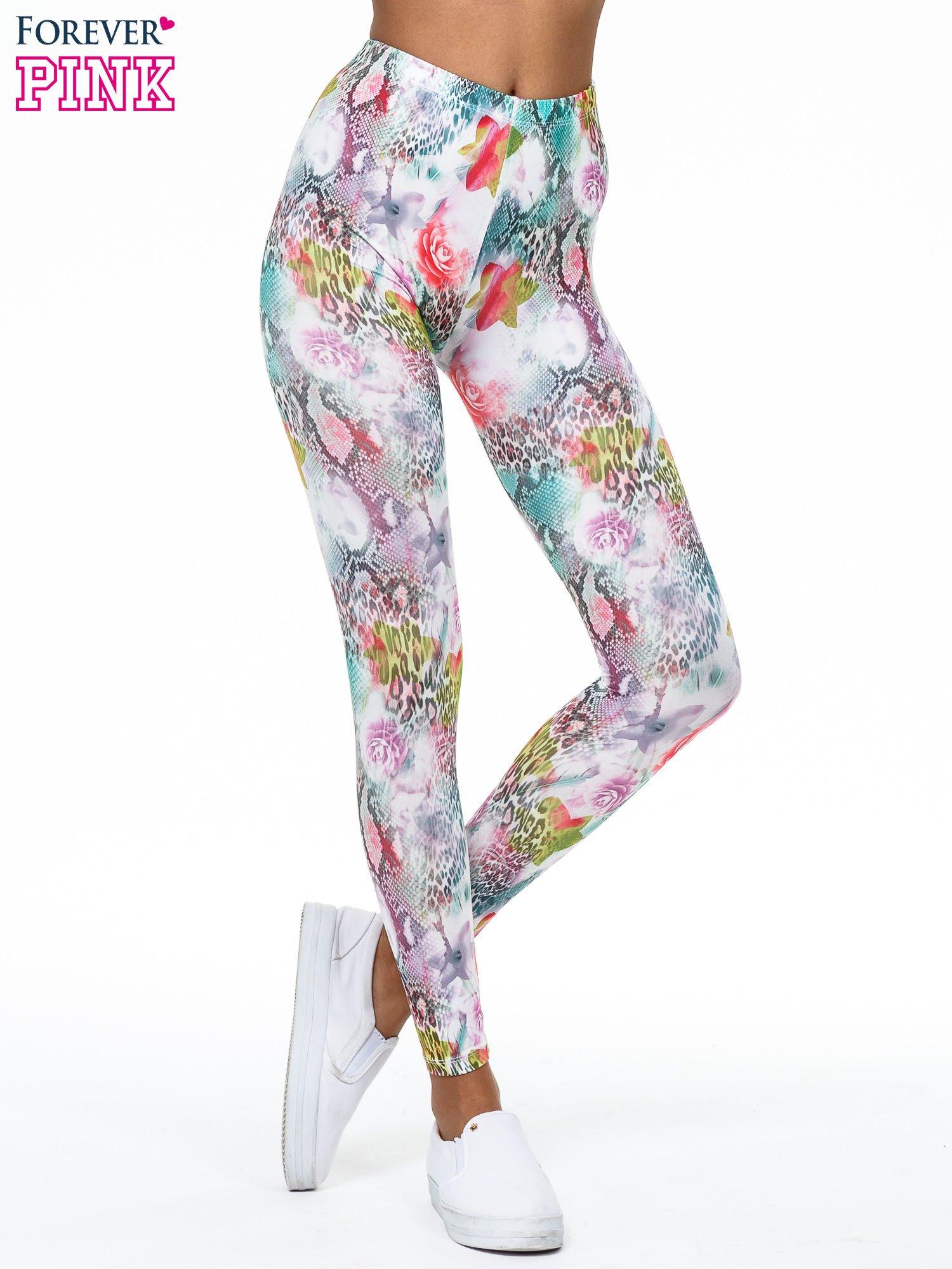 Kwiatowe legginsy w różnobarwne wzory                                  zdj.                                  1