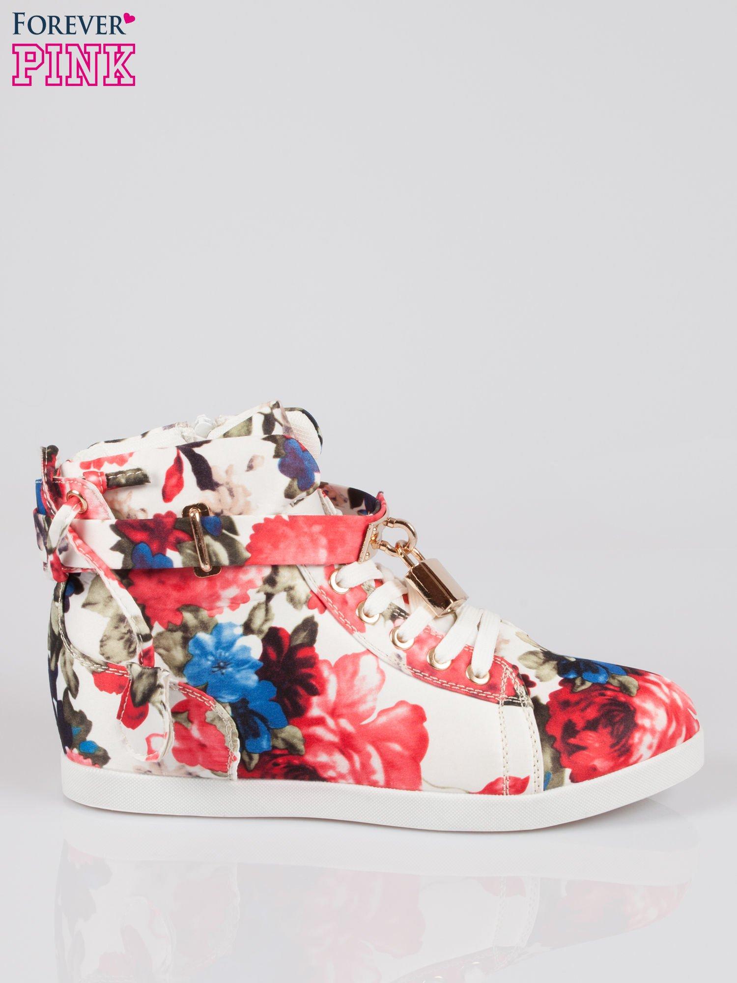 Kwiatowe sneakersy damskie ze złotą kłódką                                  zdj.                                  1