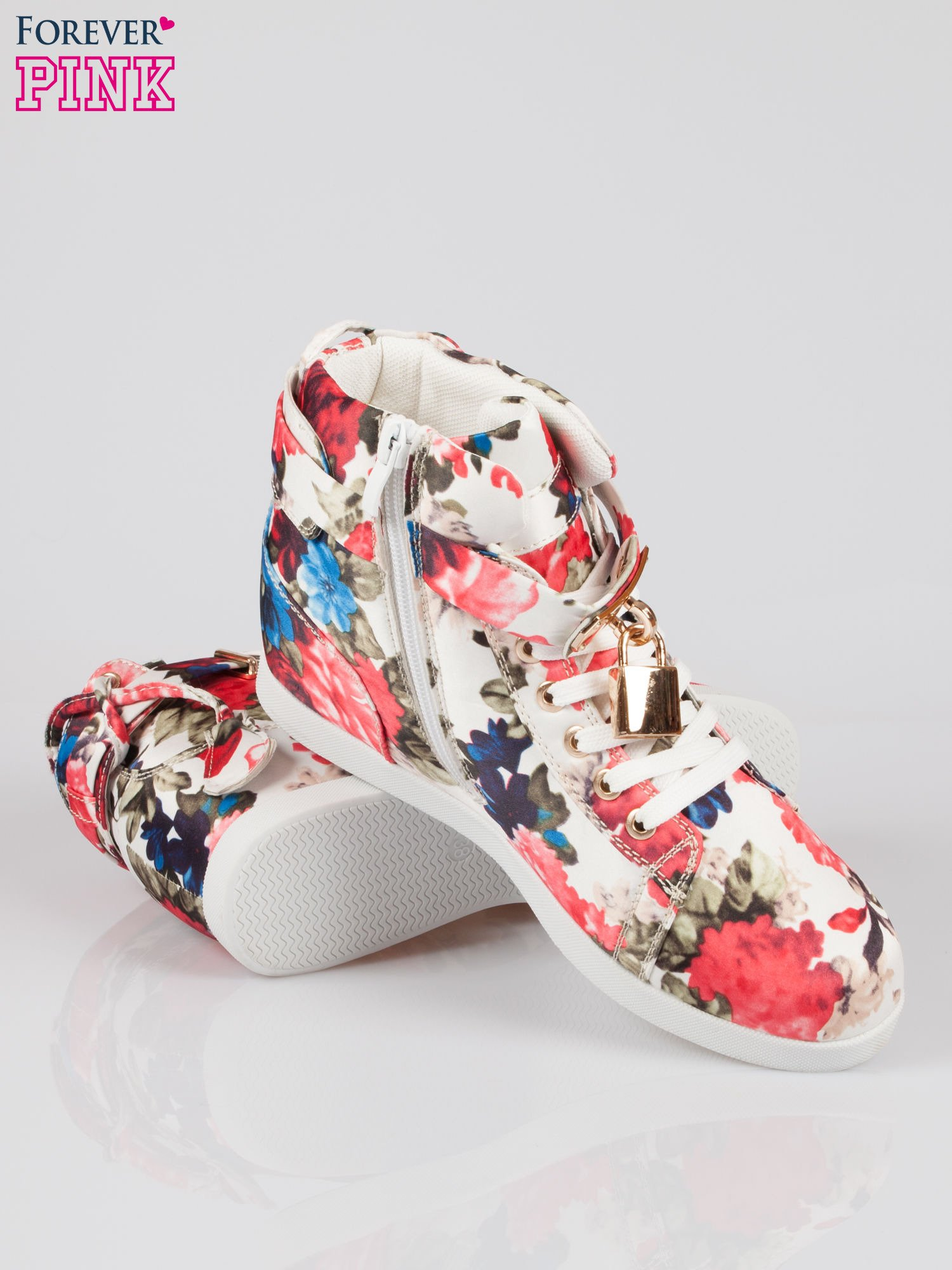 Kwiatowe sneakersy damskie ze złotą kłódką                                  zdj.                                  4