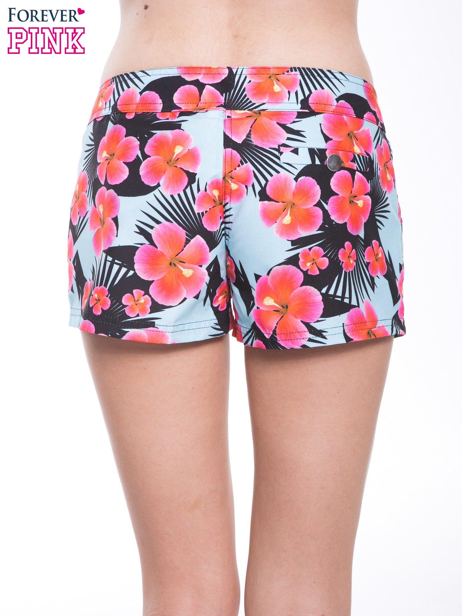 Kwiatowe szorty plażowe zapinane na guzik                                  zdj.                                  2
