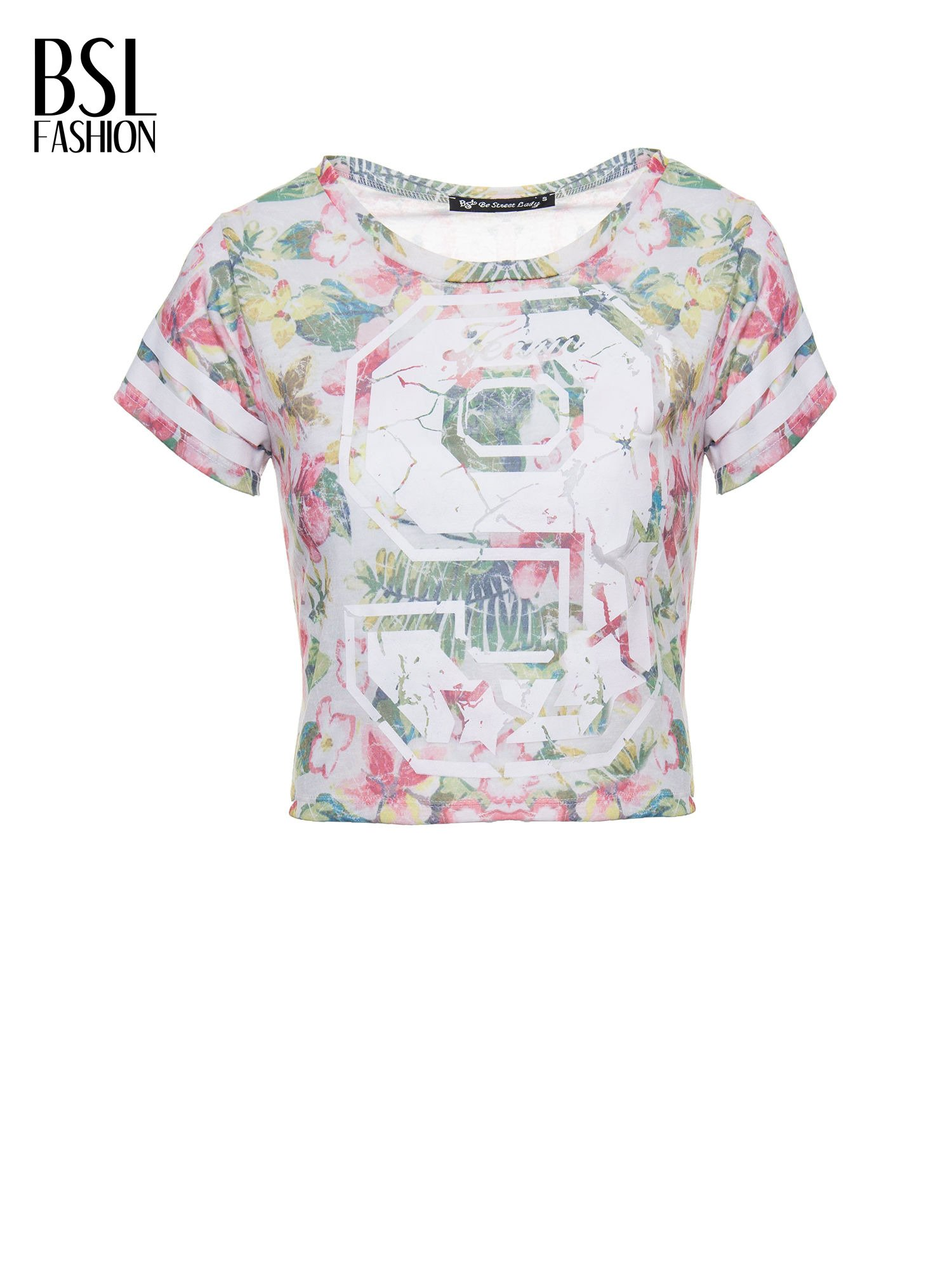 Kwiatowy t-shirt typu crop top z numerkiem                                  zdj.                                  7
