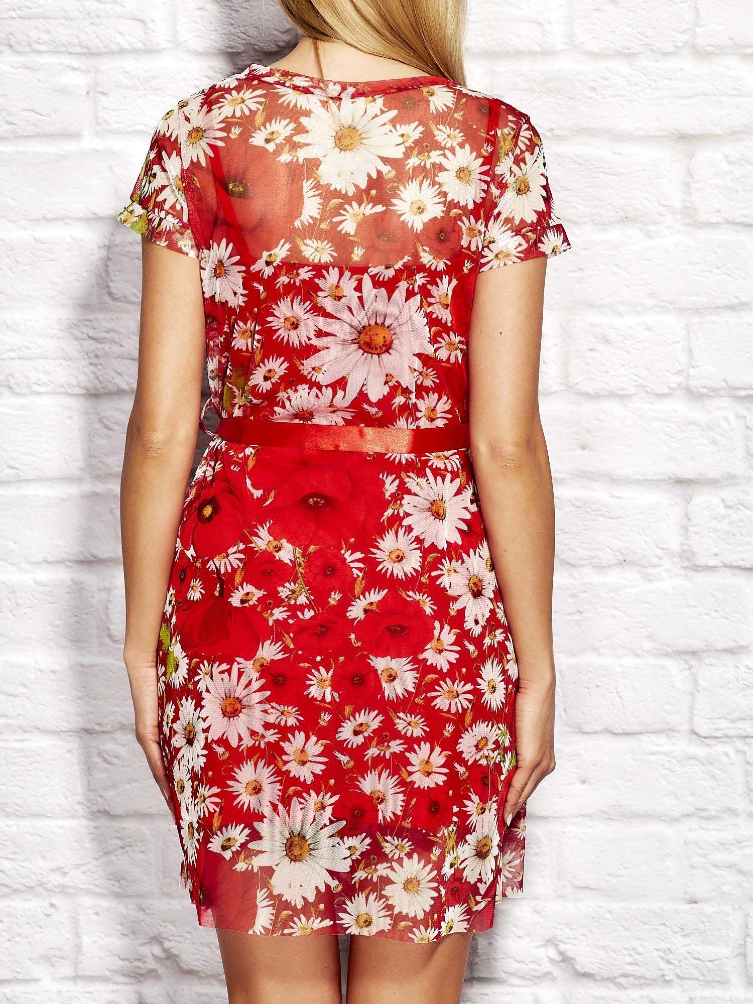 15b42c4fcc Letnia warstwowa sukienka w kwiaty czerwona - Sukienka na wesele ...