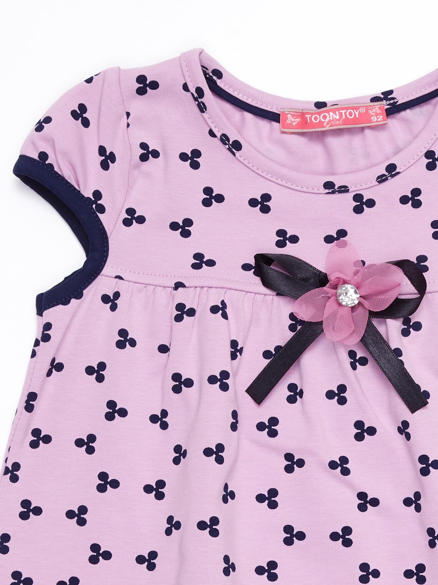 7d06cf4806 Liliowa sukienka dziecięca z nadrukiem all over - Dziecko Dziewczynka -  sklep eButik.pl