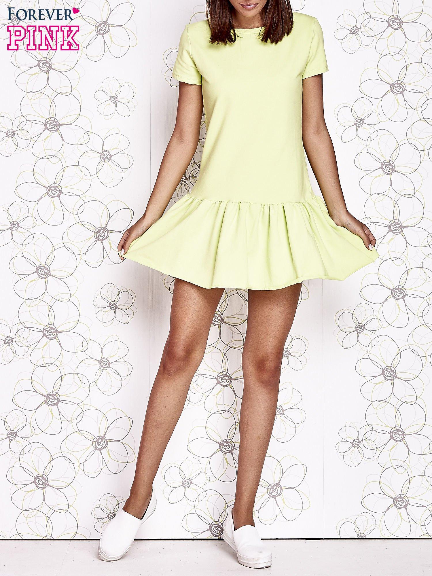 Limonkowa dresowa sukienka z wycięciem na plecach                                   zdj.                                  6