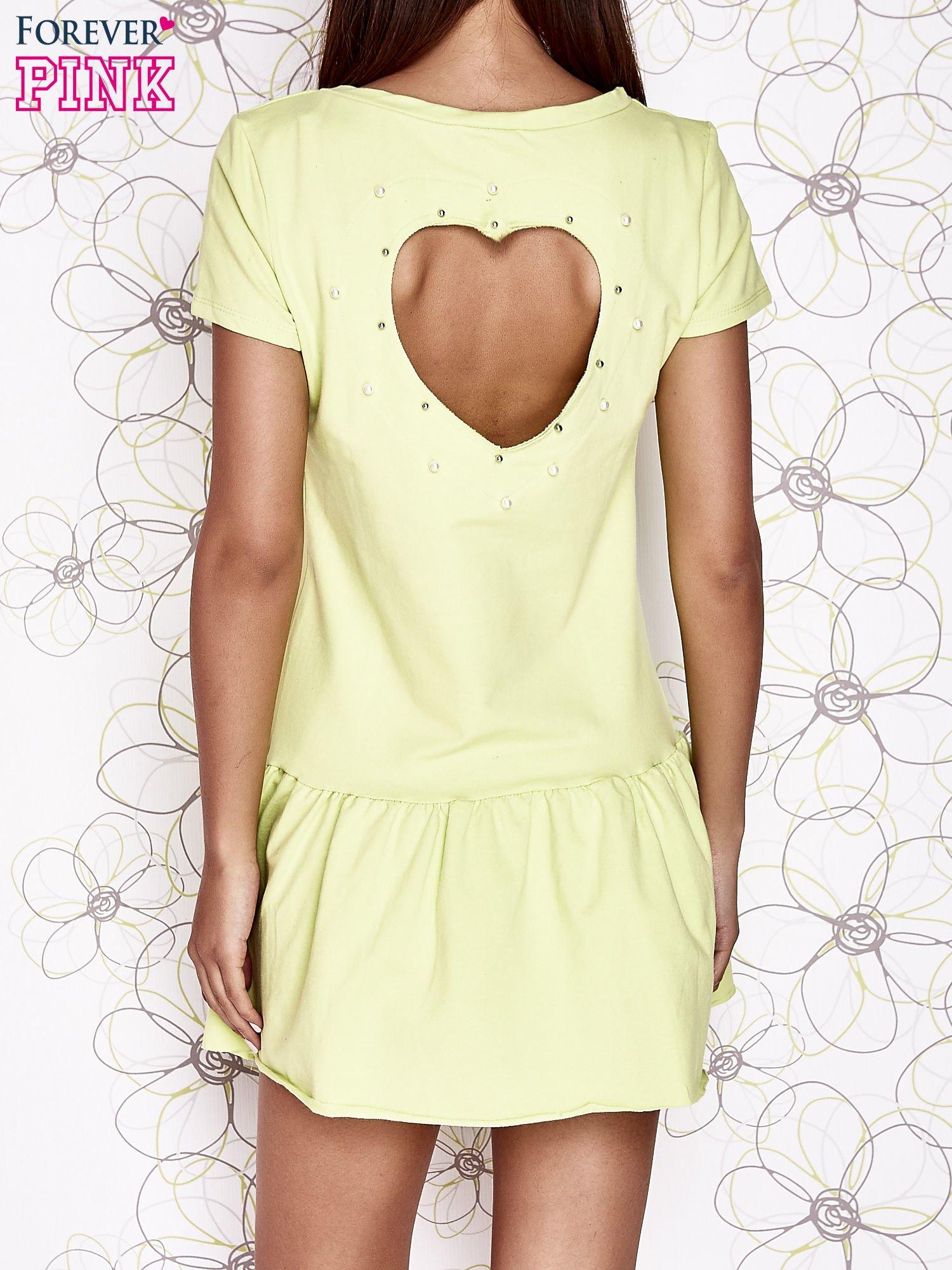 Limonkowa dresowa sukienka z wycięciem na plecach                                   zdj.                                  4