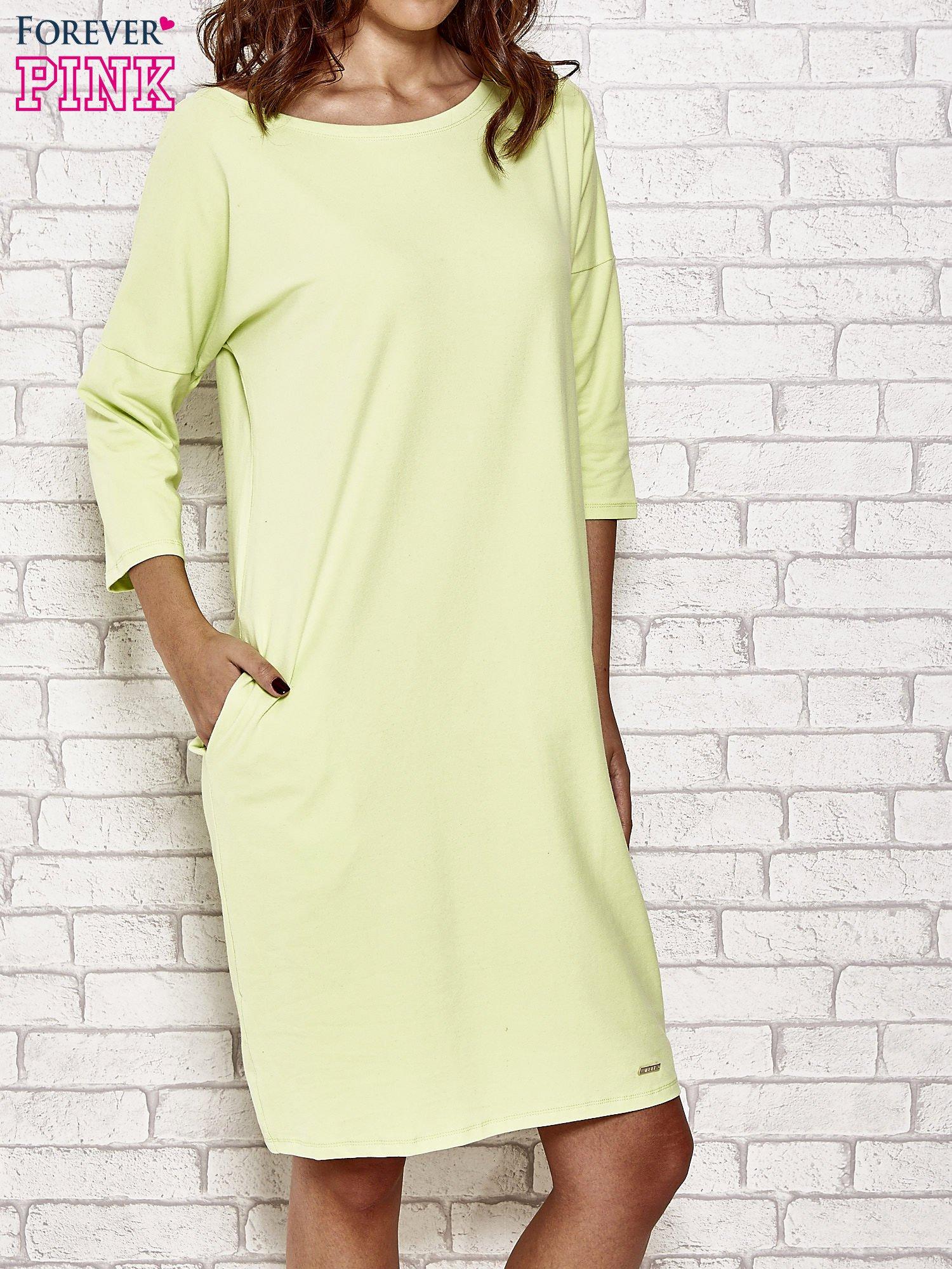 Limonkowa prosta sukienka dresowa                                  zdj.                                  1