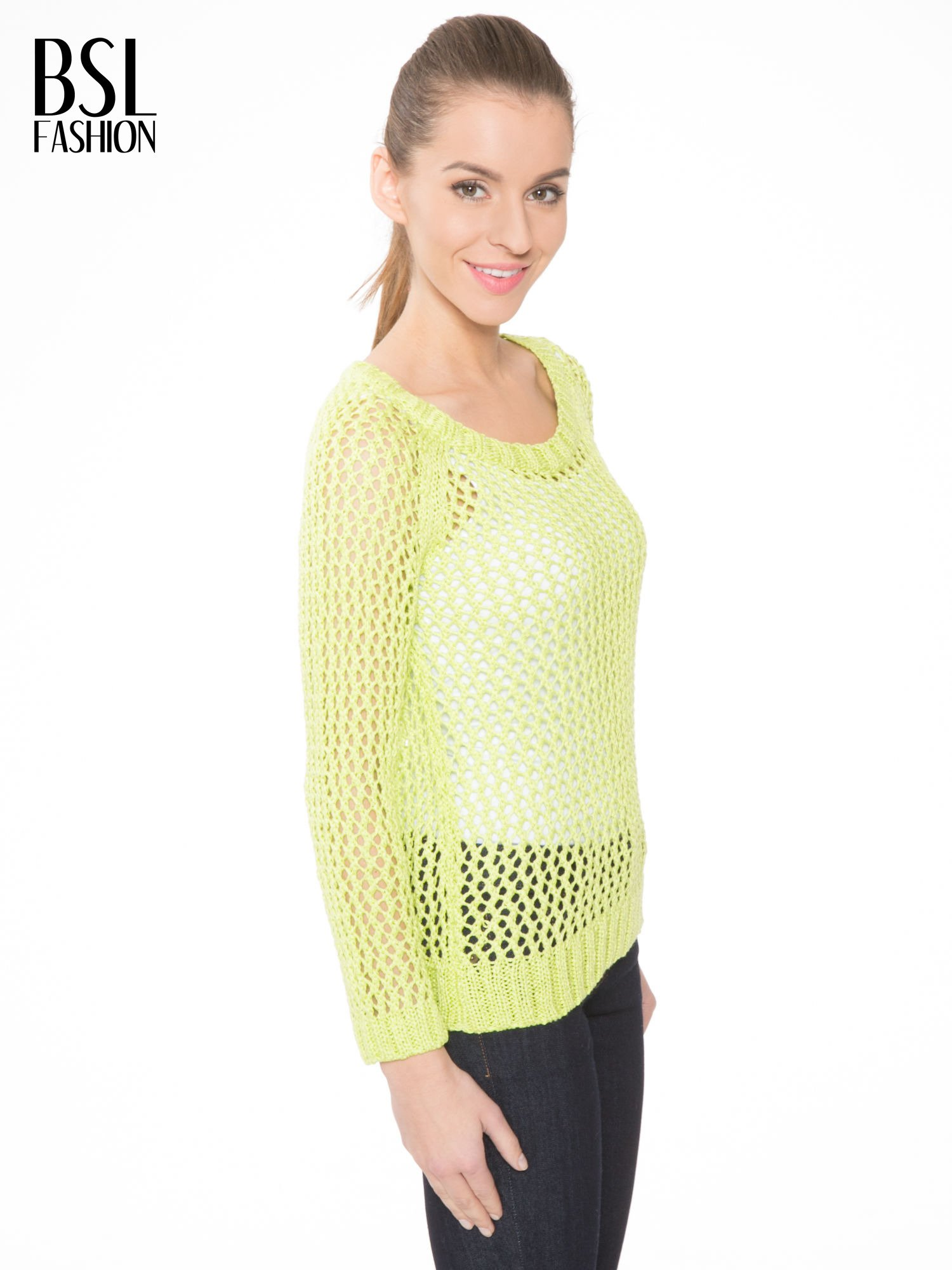 Limonkowy siatkowy sweter                                  zdj.                                  3