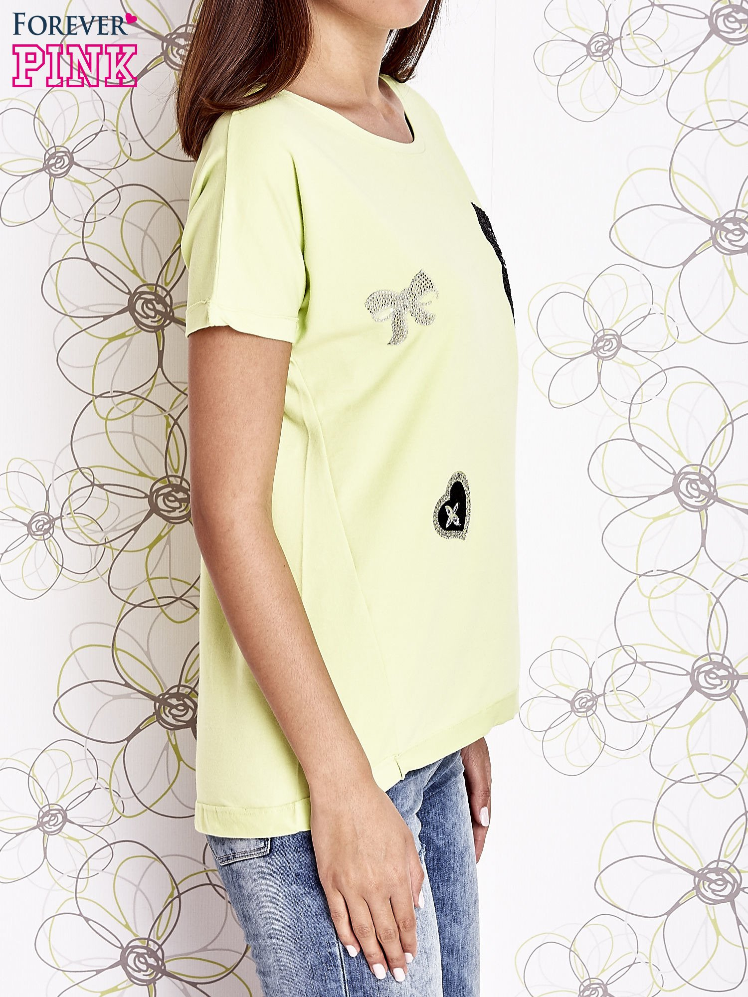 Limonkowy t-shirt z motywem serca i kokardki                                  zdj.                                  4