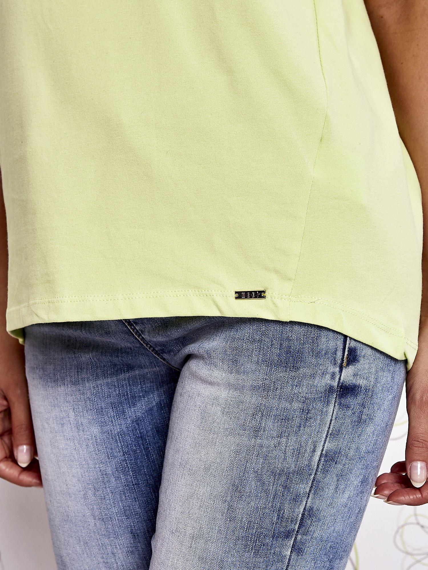 Limonkowy t-shirt z napisem LIU J❤                                  zdj.                                  6