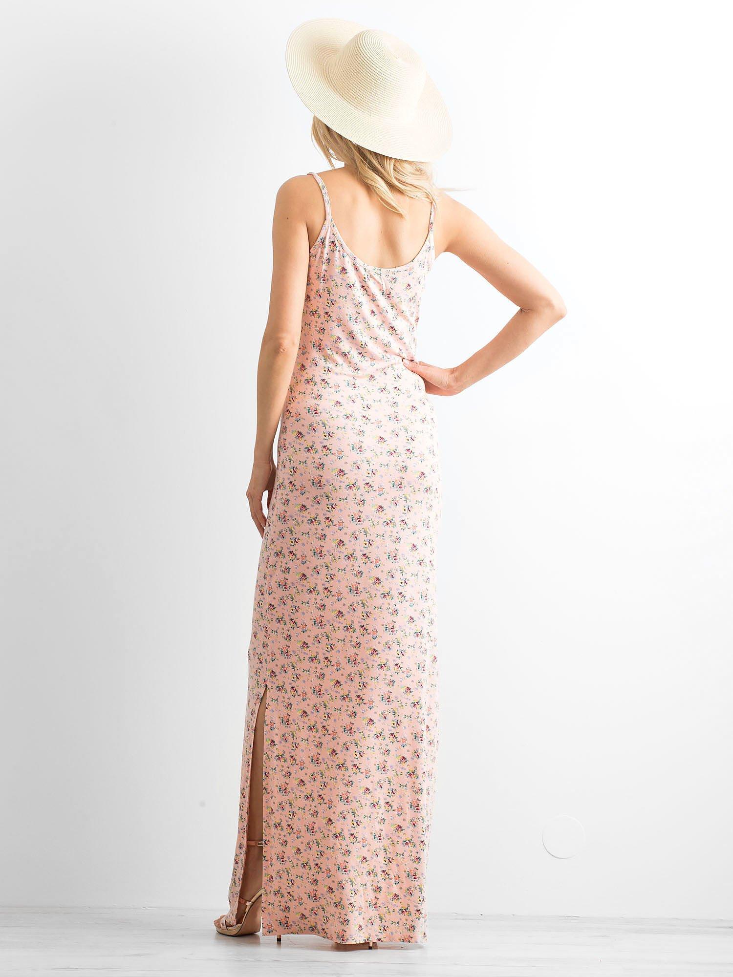 Łososiowa sukienka maxi na ramiączkach w łączkę                                  zdj.                                  4