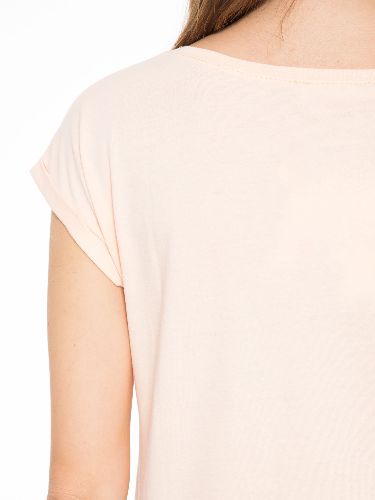 Łososiowy t-shirt z nadrukiem roweru                                  zdj.                                  8