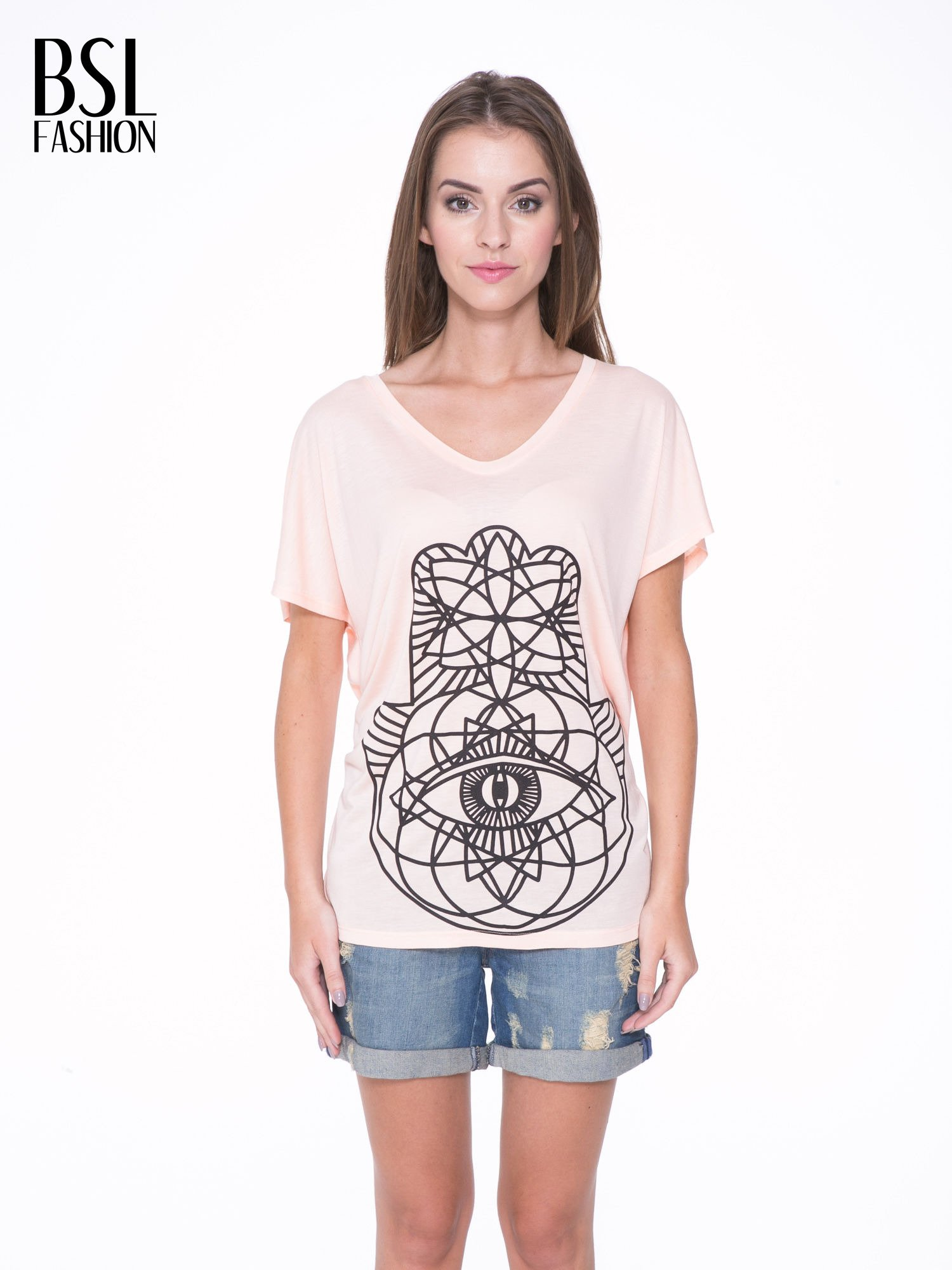Łososiowy t-shirt z ornamentowym nadrukiem                                  zdj.                                  1