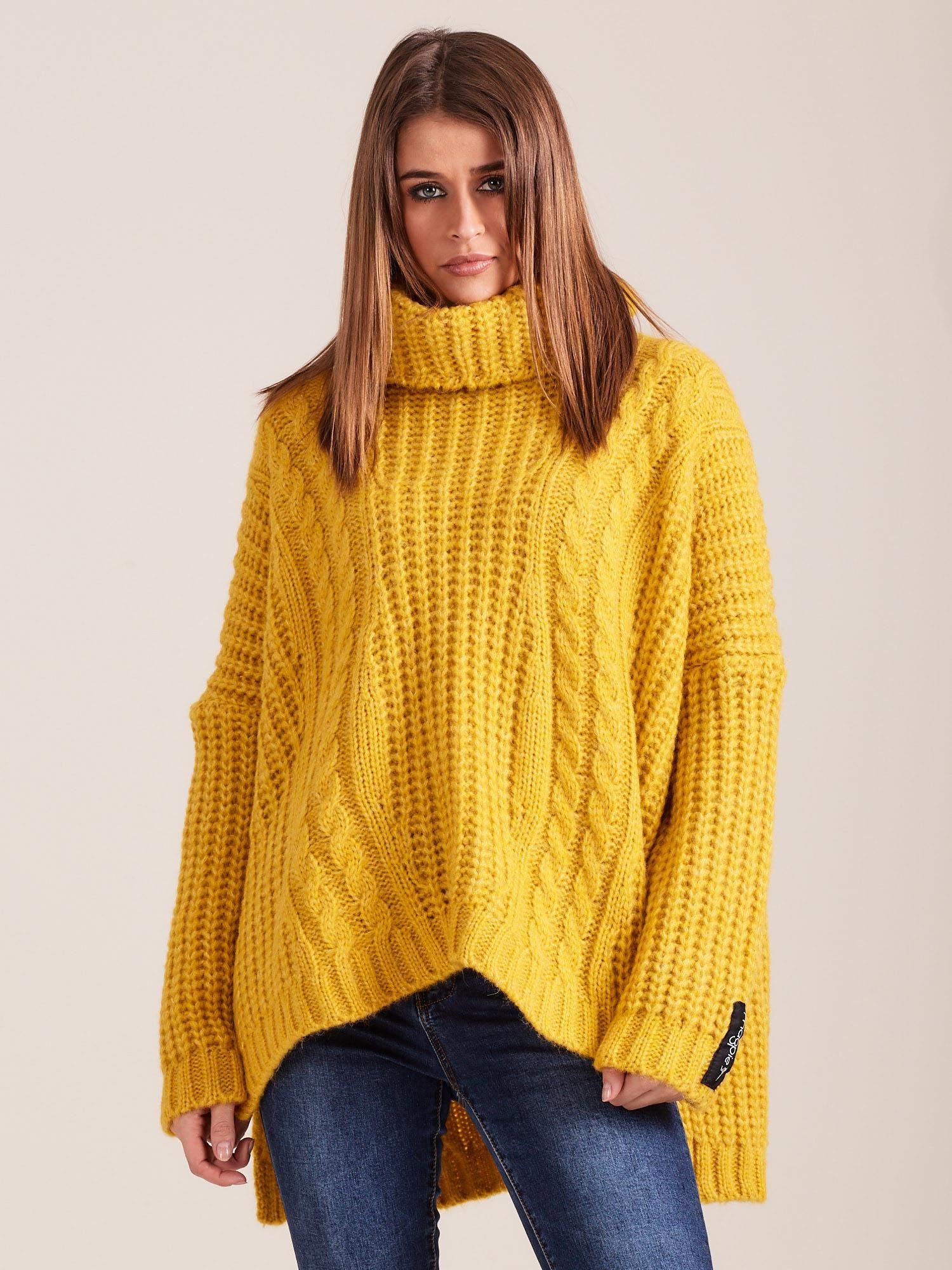 27f90b4f50ad44 MAGPIE Luźny żółty sweter z golfem - Sweter z golfem - sklep eButik.pl