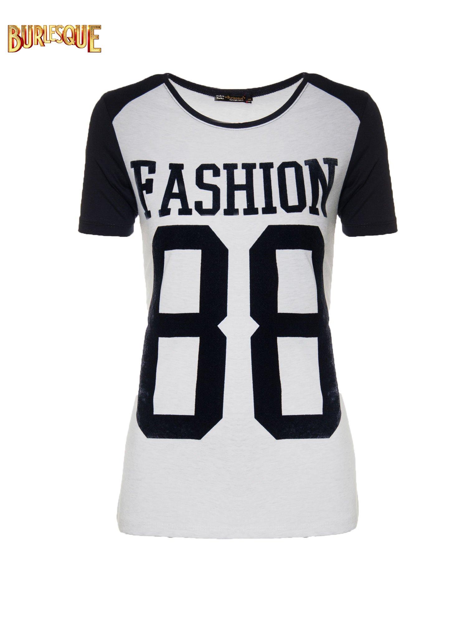 Melanżowo-czarny t-shirt z nadrukiem FASHION 88                                  zdj.                                  1