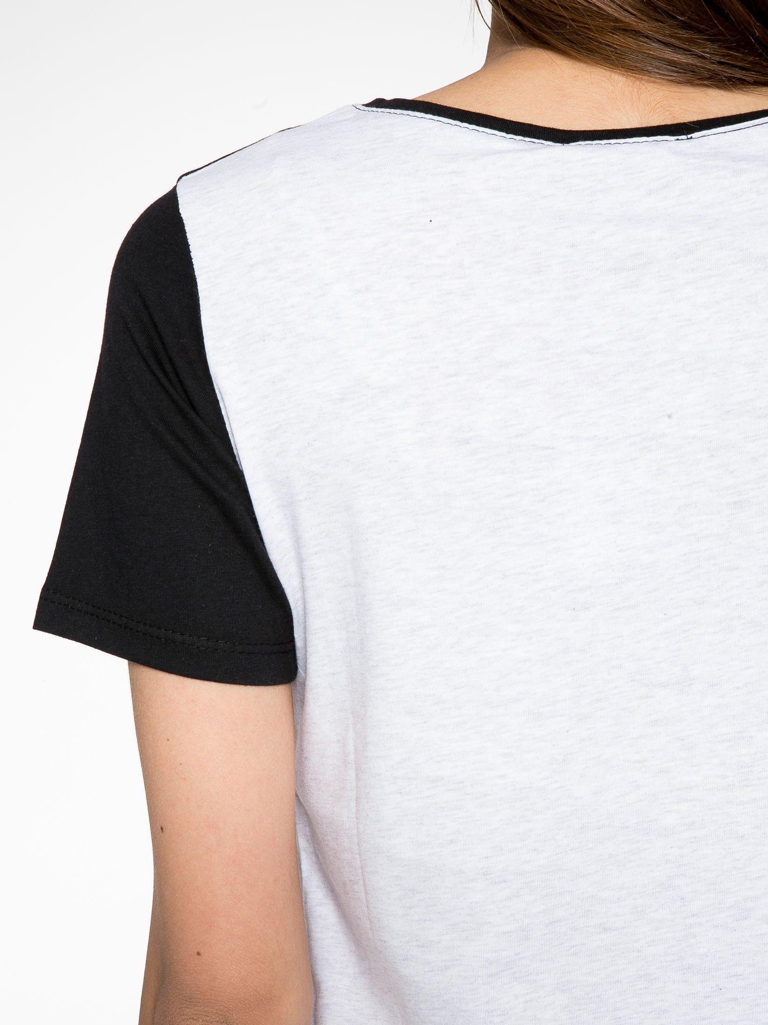 Melanżowo-czarny t-shirt z nadrukiem FASHION 88                                  zdj.                                  9
