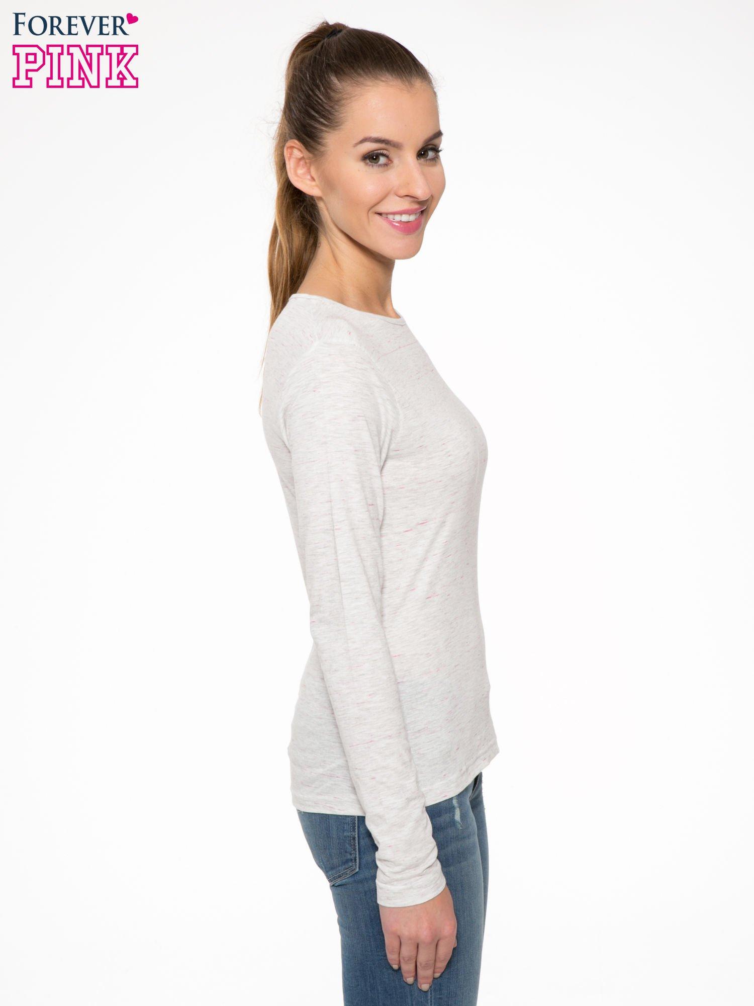 Melanżoworóżowa bawełniana bluzka typu basic z długim rękawem                                  zdj.                                  3