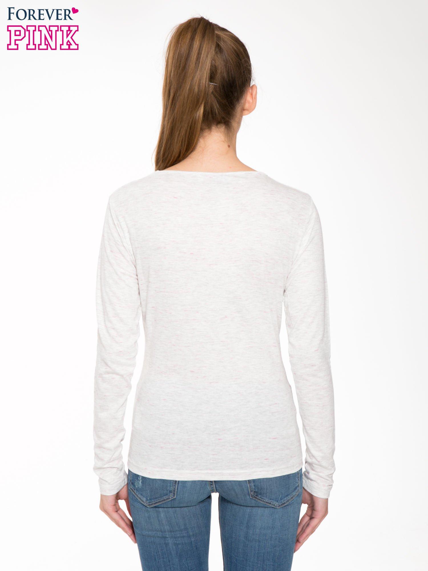 Melanżoworóżowa bawełniana bluzka typu basic z długim rękawem                                  zdj.                                  4