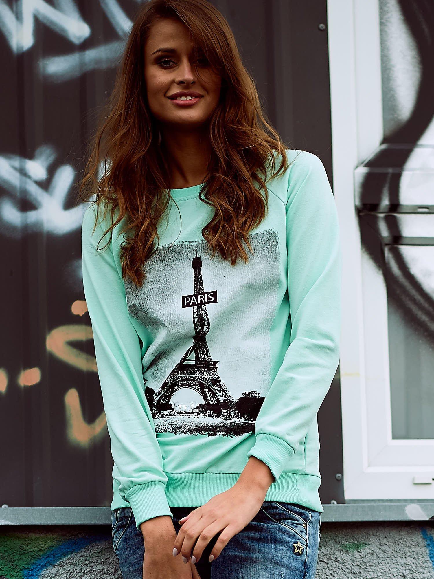 Miętowa bluza z motywem Wieży Eiffla                                  zdj.                                  1