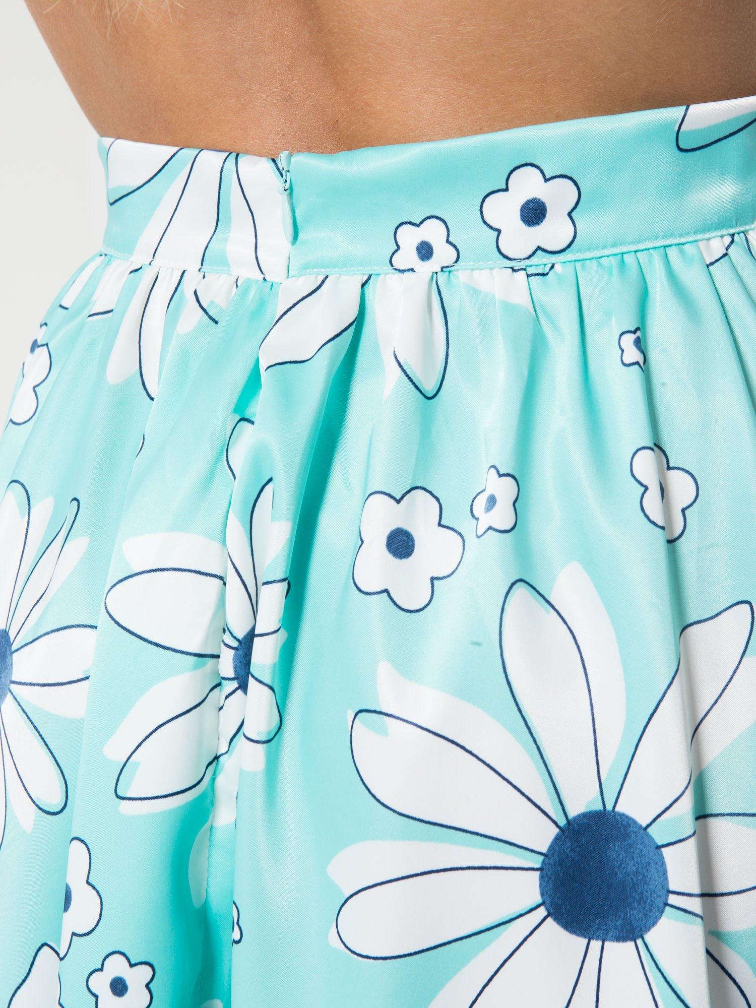 Miętowa rozkloszowana spódnica skater w kwiaty                                  zdj.                                  6