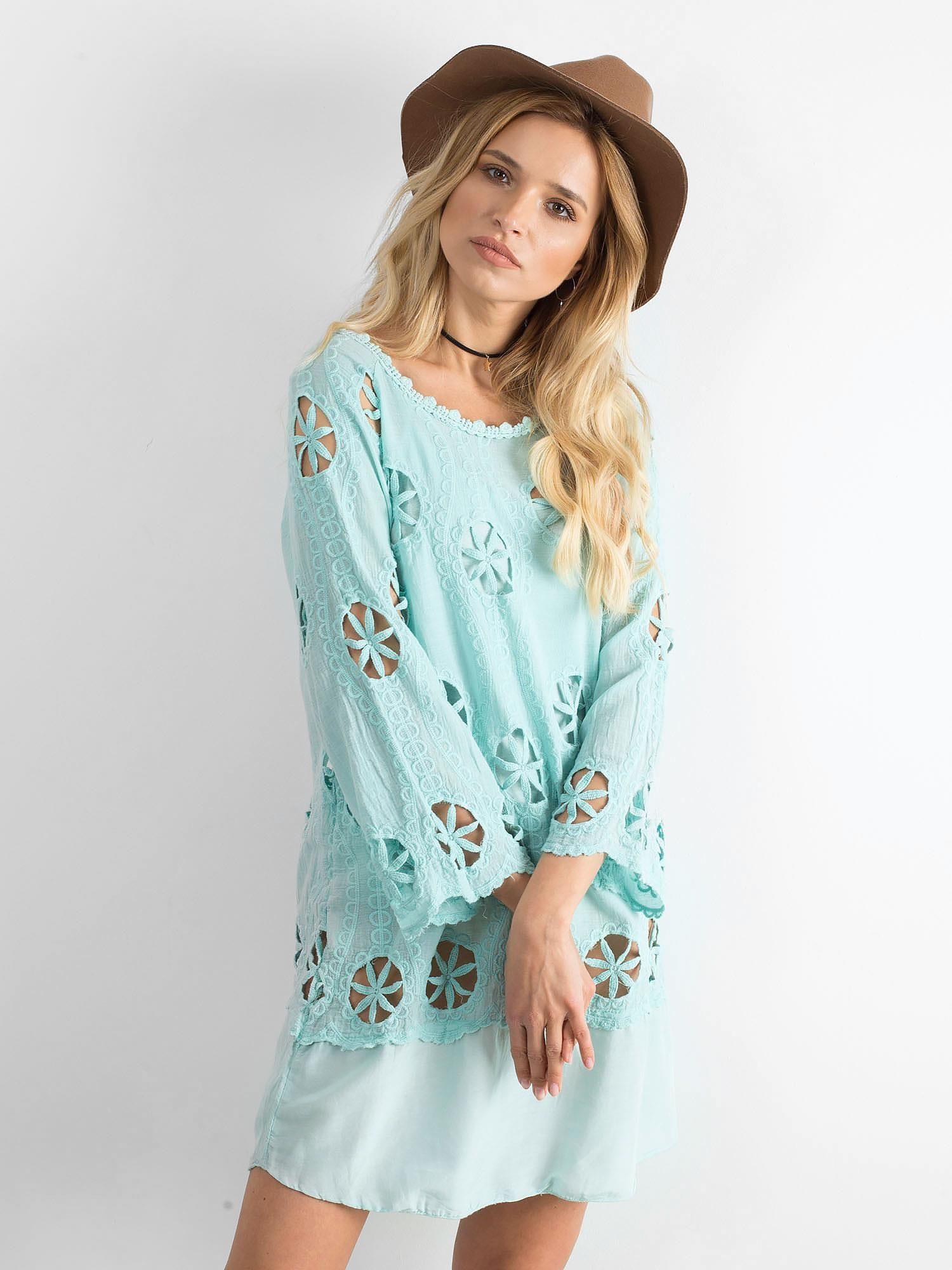 bc90e408bb Miętowa sukienka w ażurowe wzory - Sukienka na co dzień - sklep ...