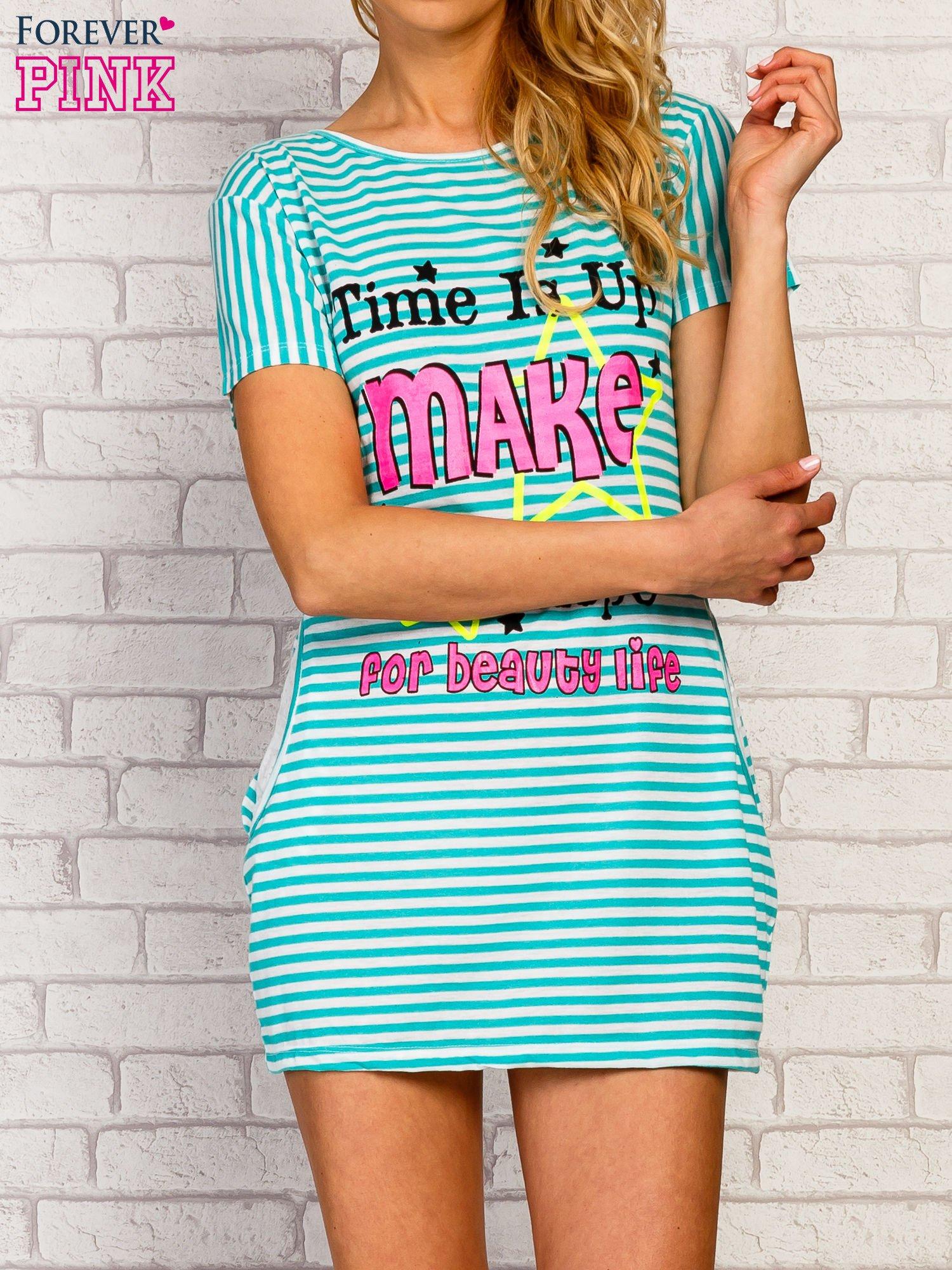 Miętowa sukienka w paski z napisem TIME IS UP                                  zdj.                                  1