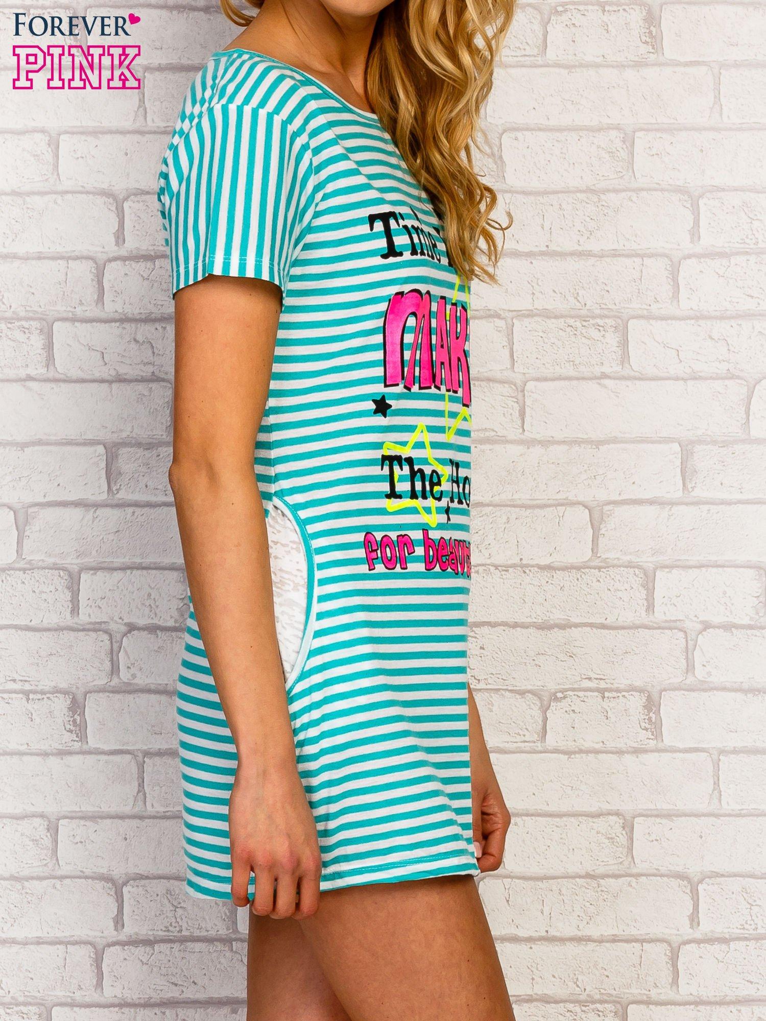 Miętowa sukienka w paski z napisem TIME IS UP                                  zdj.                                  3