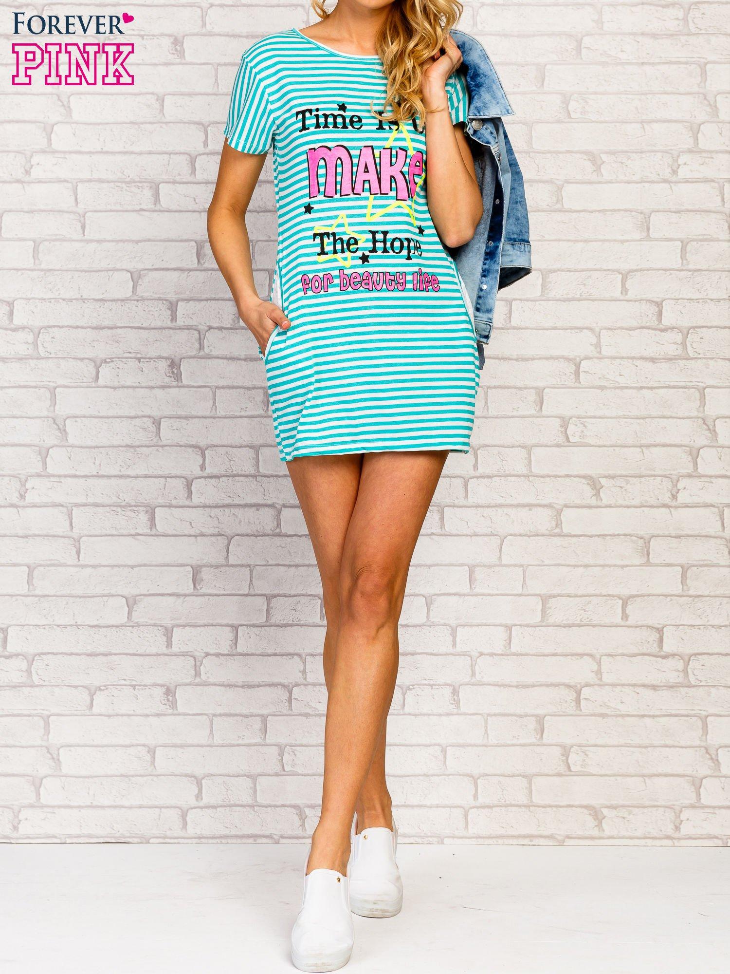 Miętowa sukienka w paski z napisem TIME IS UP                                  zdj.                                  7