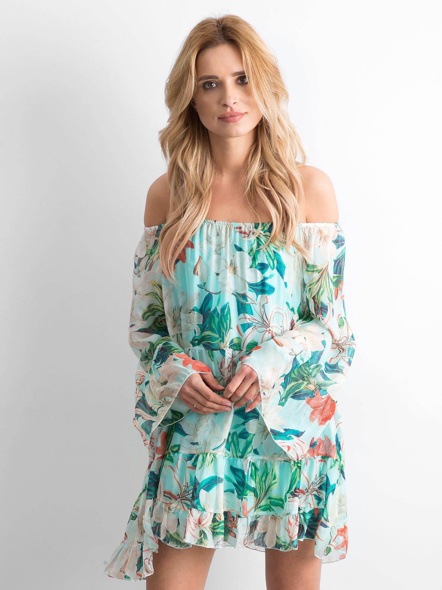 3b8095e44d Miętowa zwiewna sukienka hiszpanka w kwiaty - Sukienka hiszpanka ...