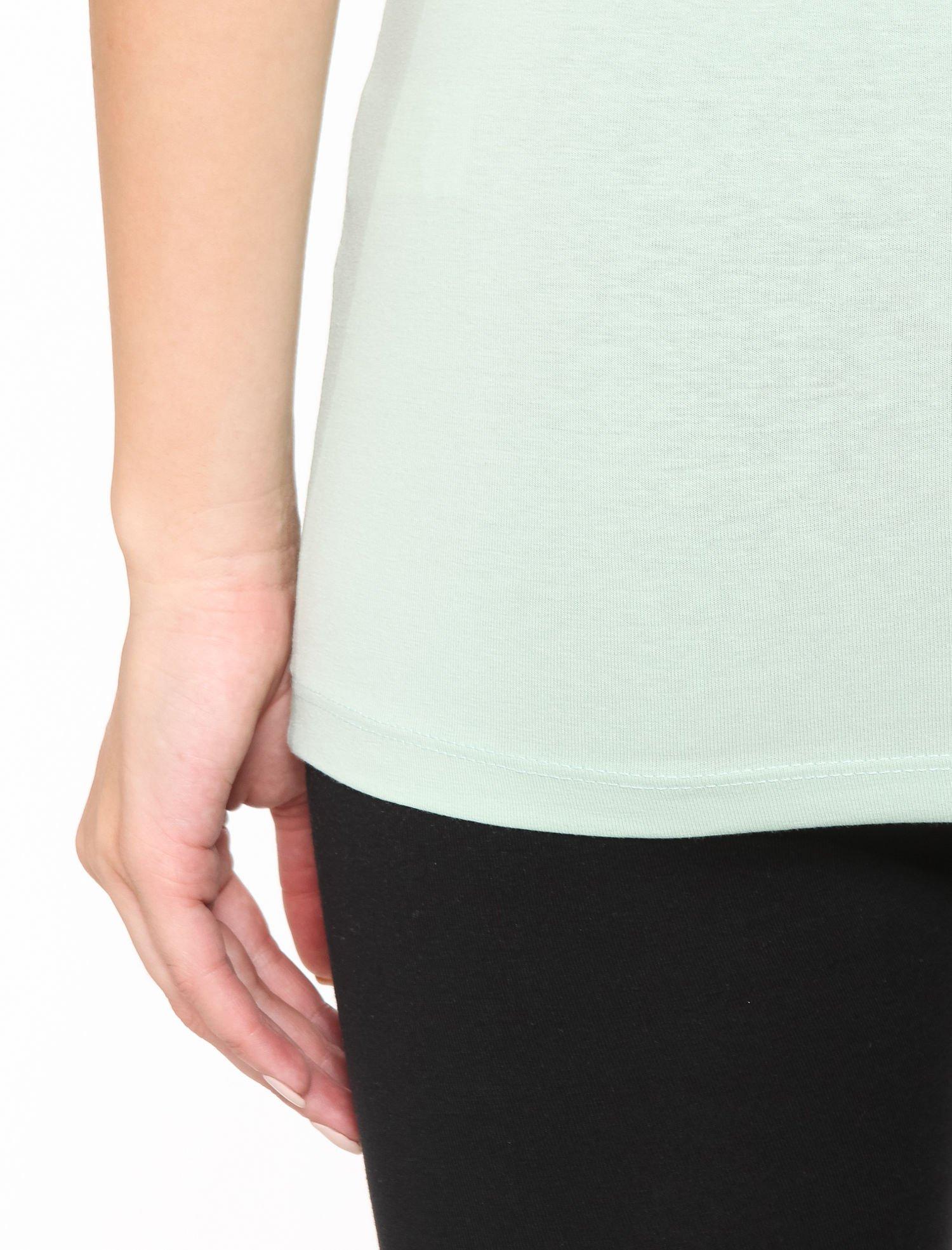 Miętowy gładki top na szerokich ramiączkach                                  zdj.                                  6