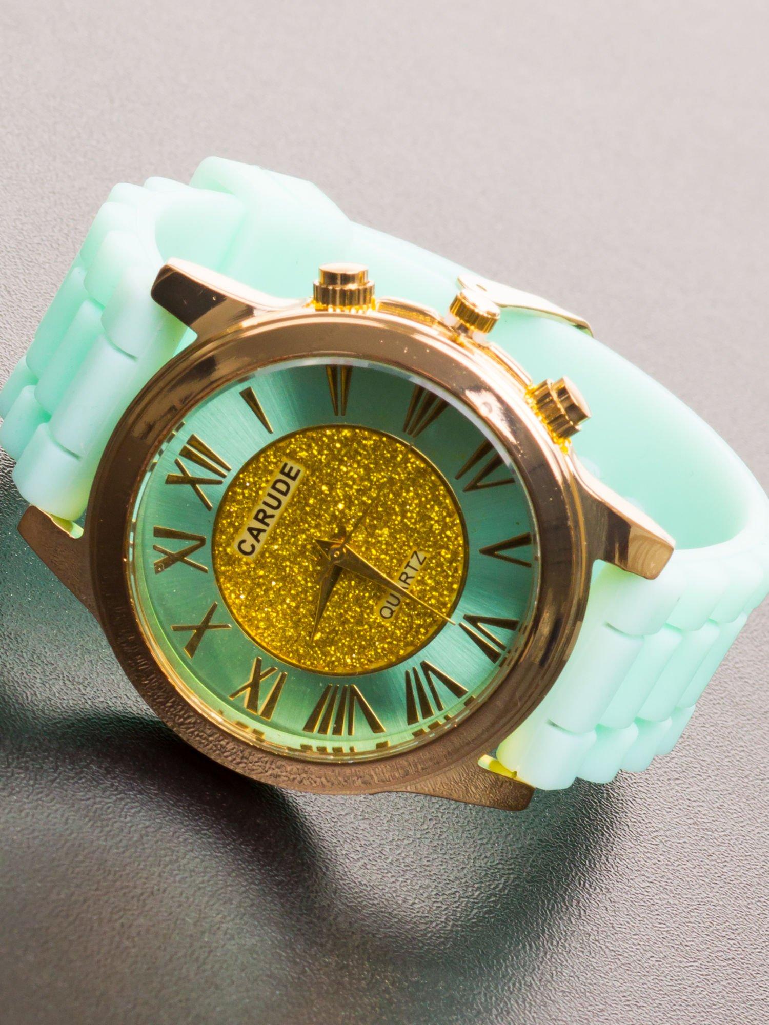 Miętowy zegarek damski na żelowym pasku                                  zdj.                                  1