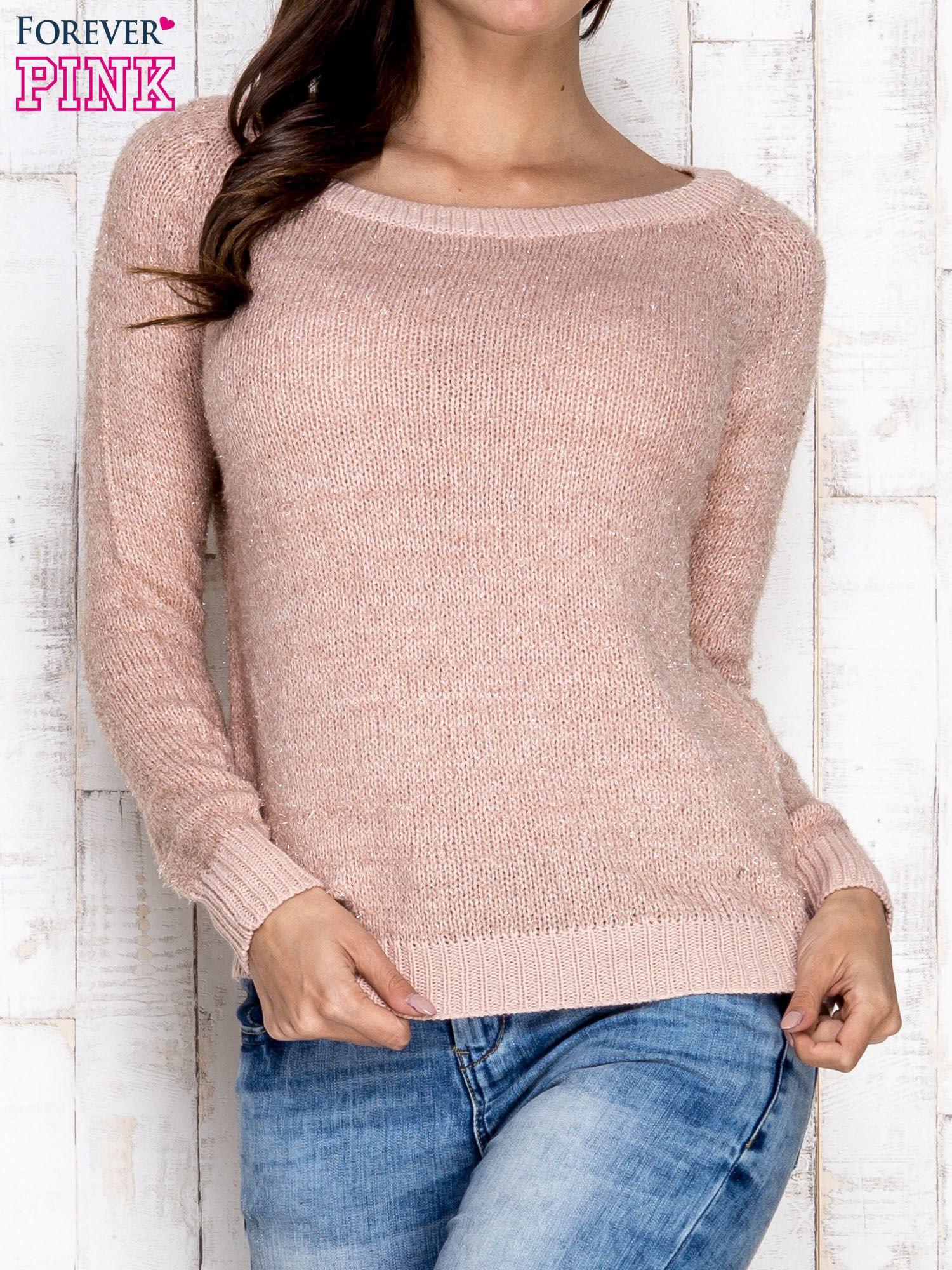 Morelowy sweter z błyszczącą nitką                                  zdj.                                  1
