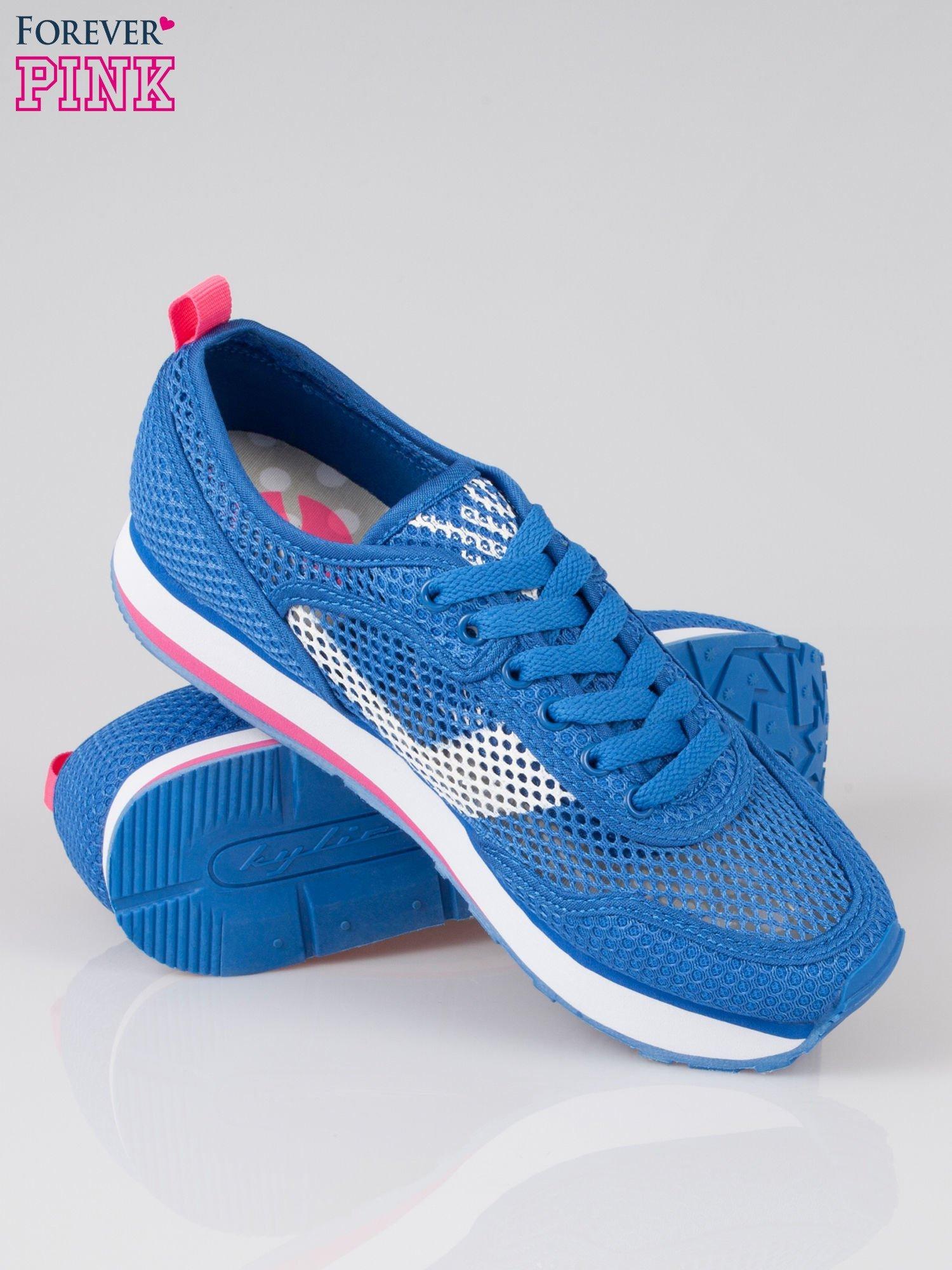 Morskie siateczkowe buty sportowe High Level na platformie                                  zdj.                                  4