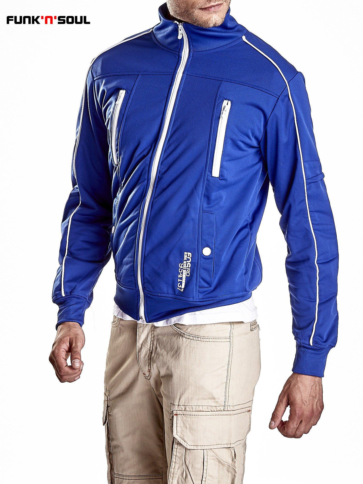 Niebieska bluza męska z kieszeniami na suwak Funk n Soul                                  zdj.                                  5