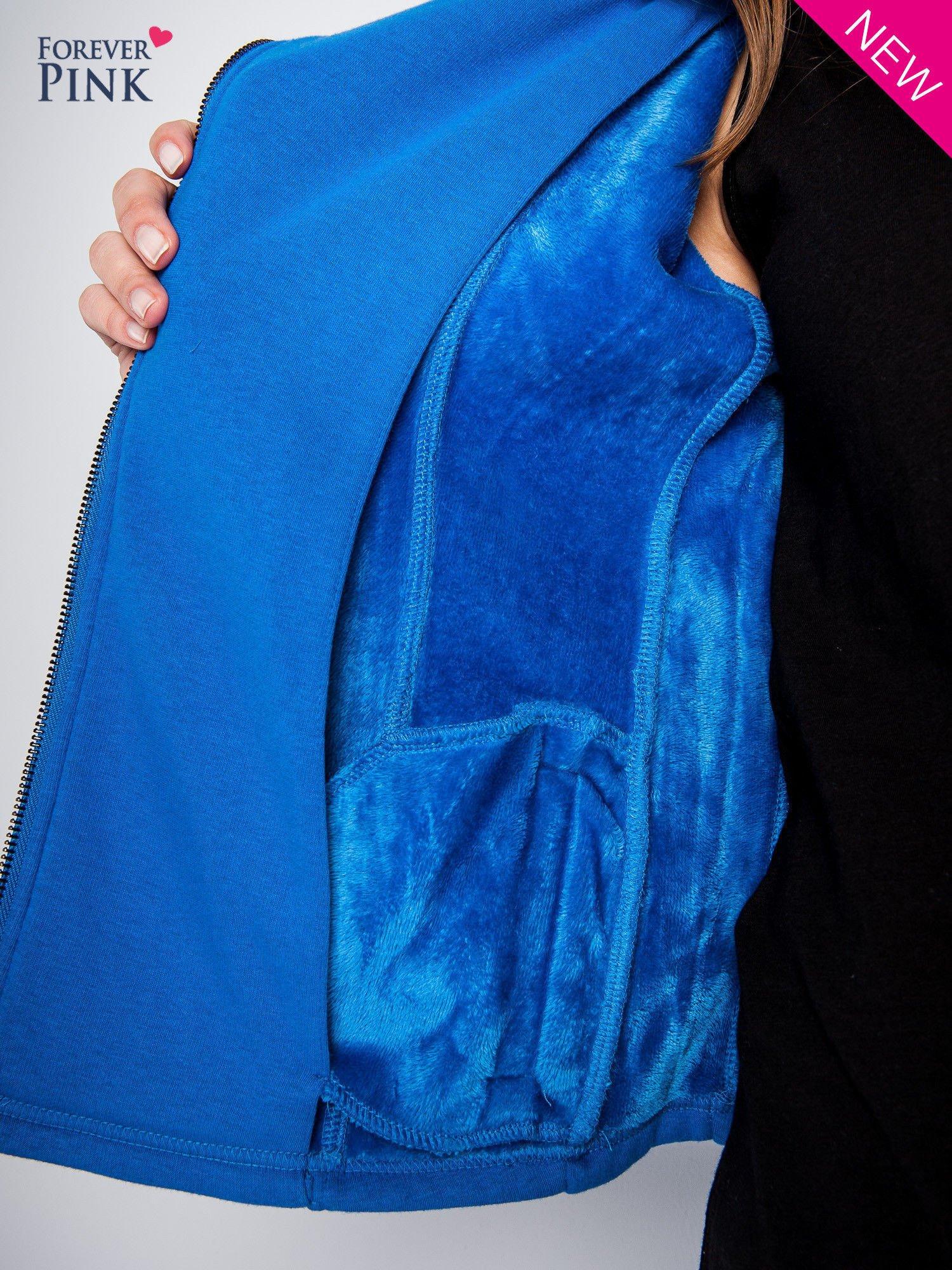 Niebieska bluza o kroju ramoneski z asymetrycznym suwakiem                                  zdj.                                  6