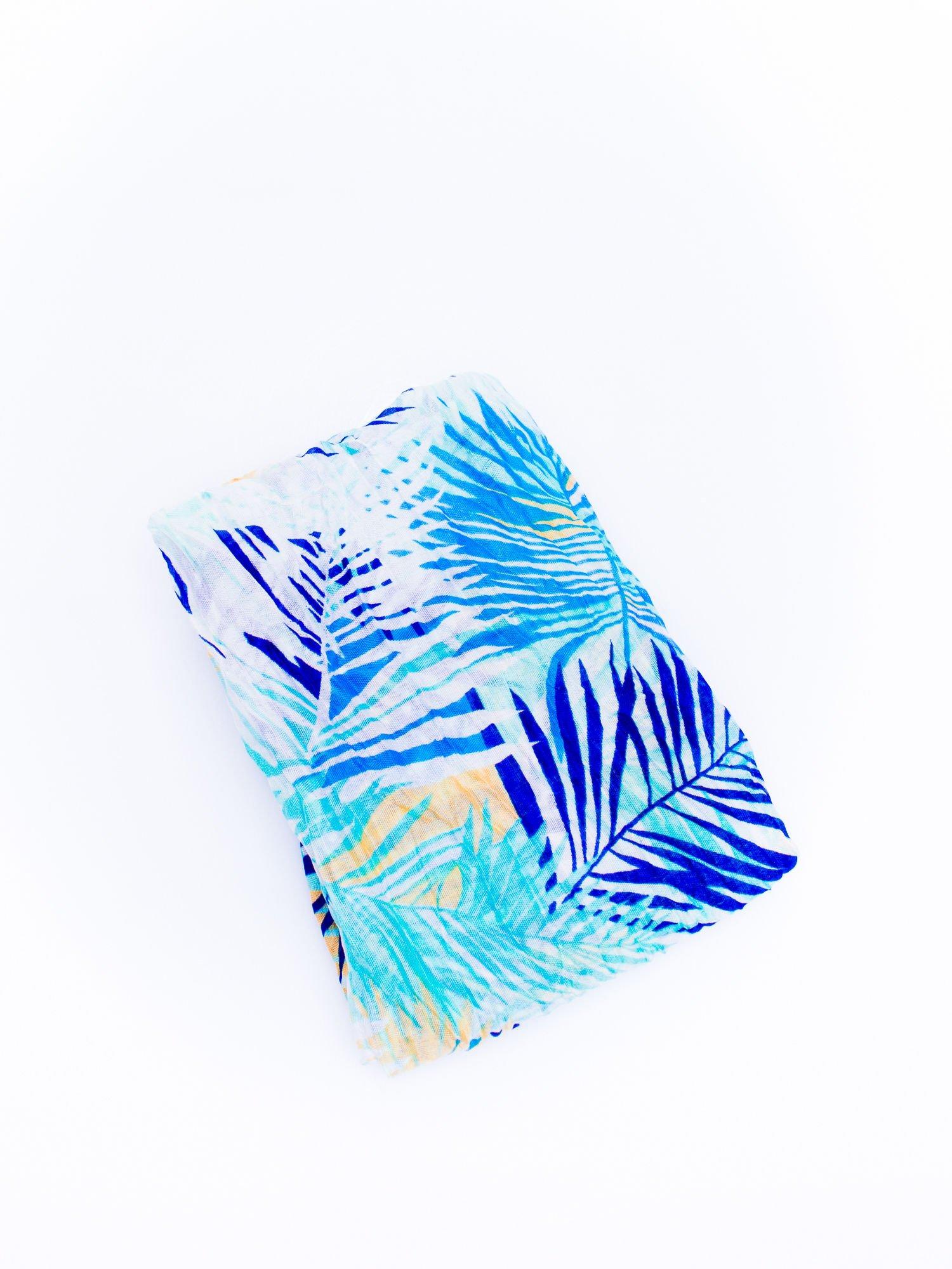 Niebieska chusta we wzór palm                                  zdj.                                  3