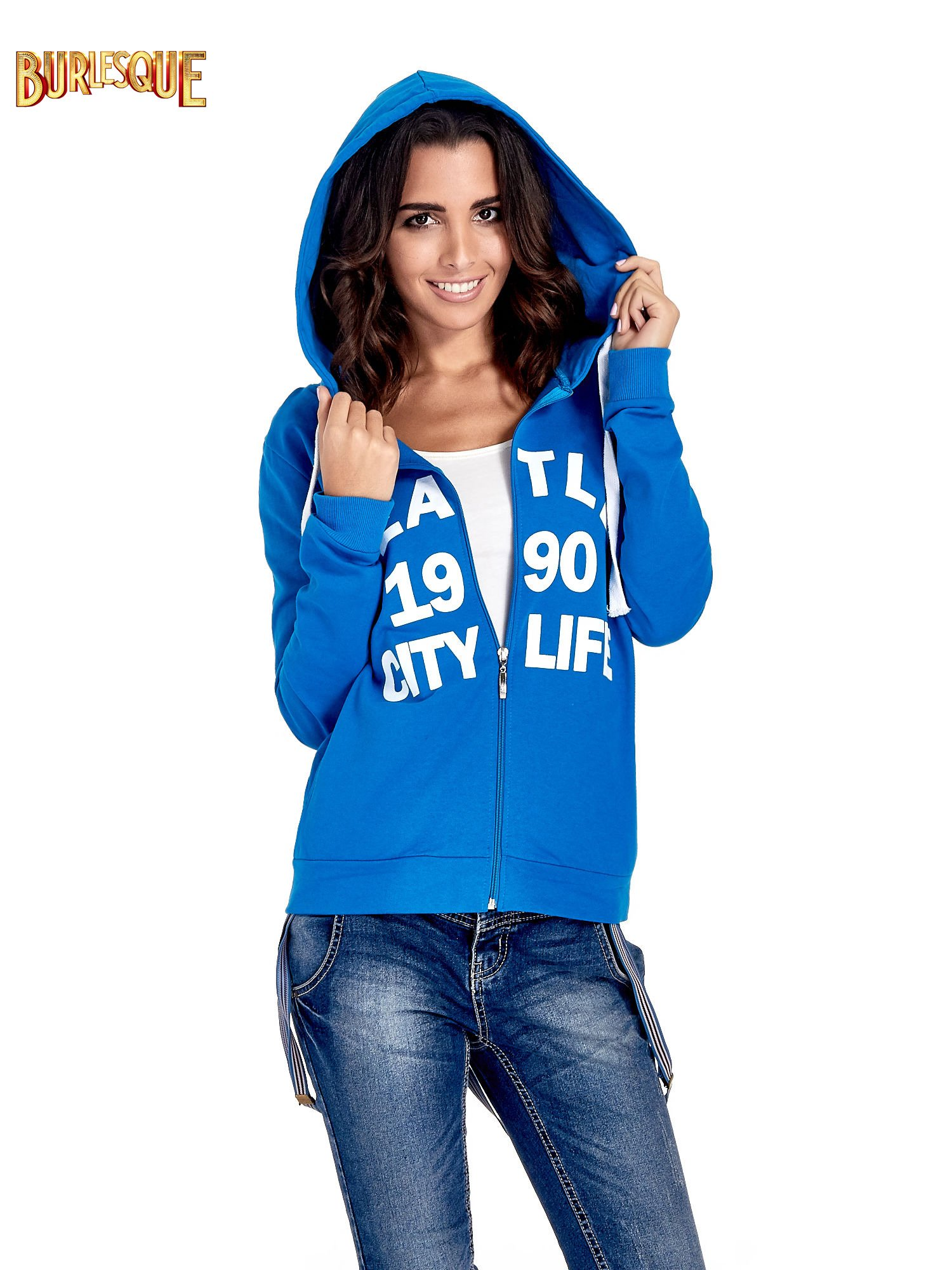 Niebieska damska bluza z kapturem i napisem SEATLE 1990                                  zdj.                                  5