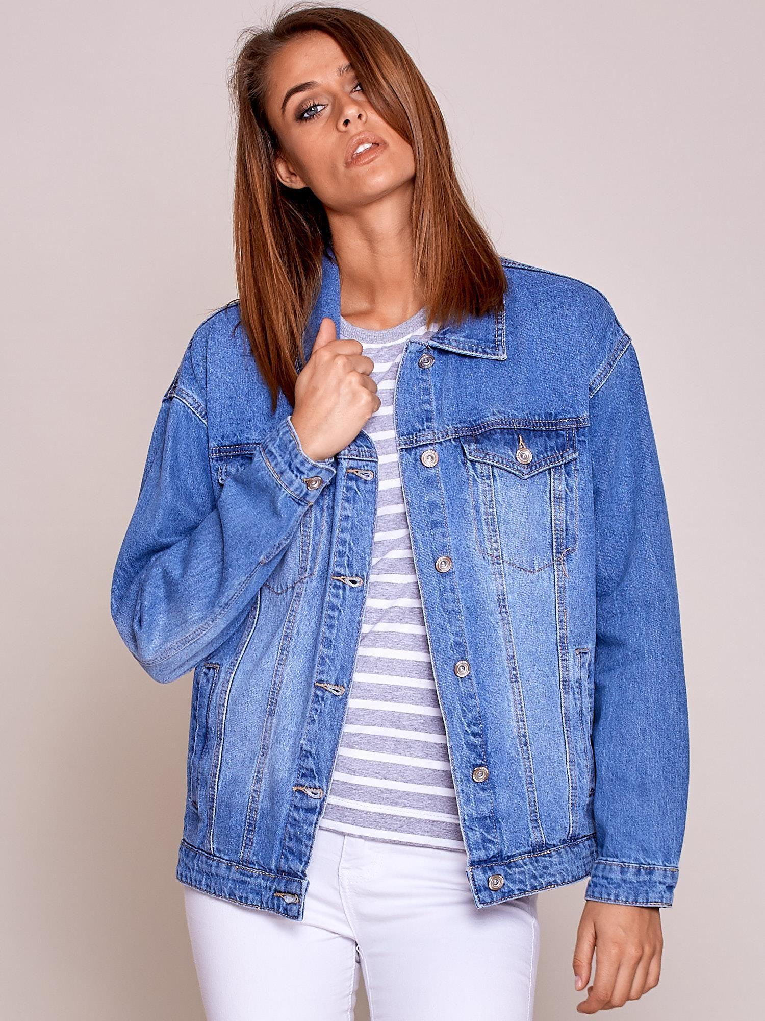 8910e8fffca15 Niebieska damska kurtka jeansowa - Kurtka jeansowa - sklep eButik.pl