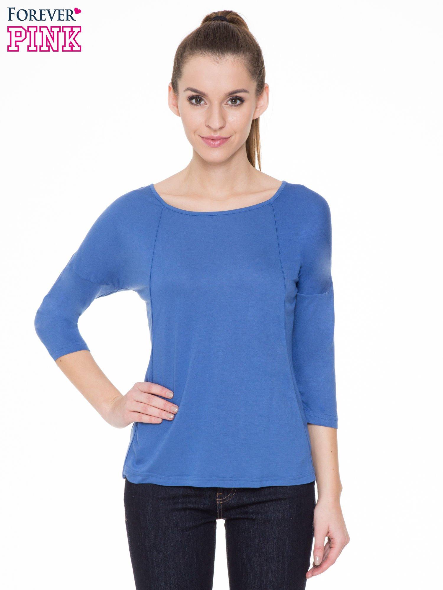 Niebieska gładka bluzka z ozdobnymi przeszyciami                                  zdj.                                  1