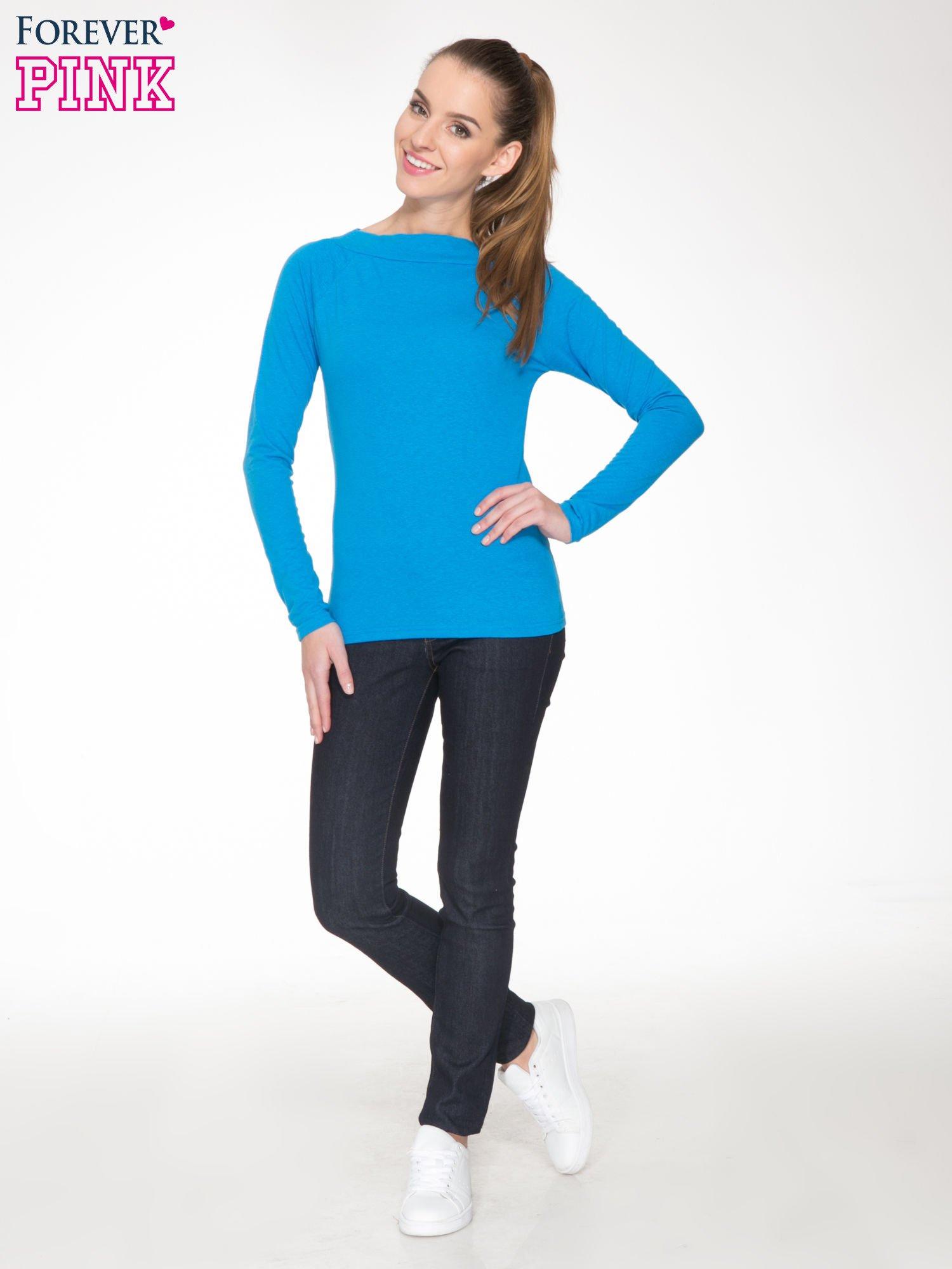Niebieska gładka bluzka z reglanowymi rękawami                                  zdj.                                  2