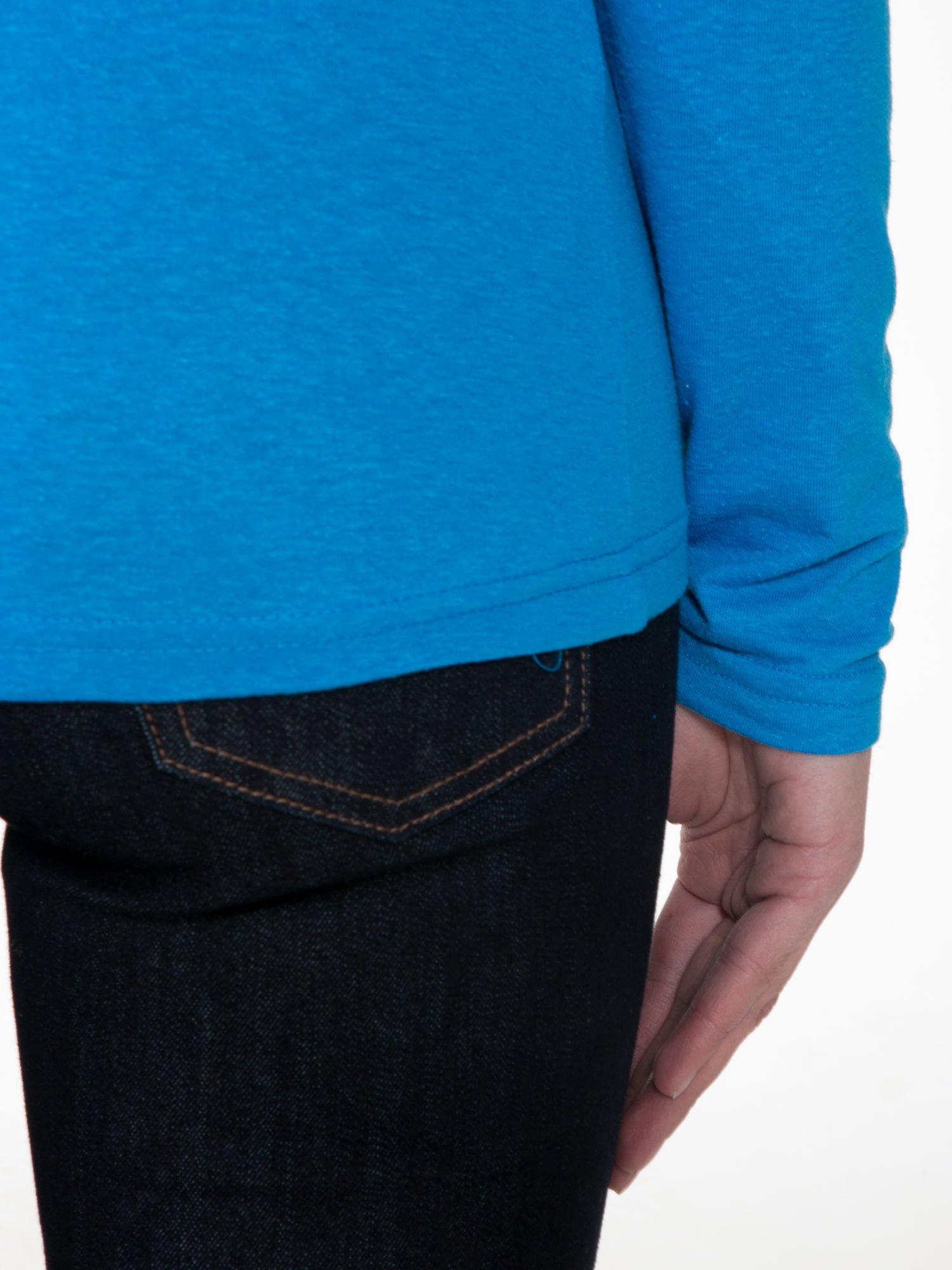 Niebieska gładka bluzka z reglanowymi rękawami                                  zdj.                                  8
