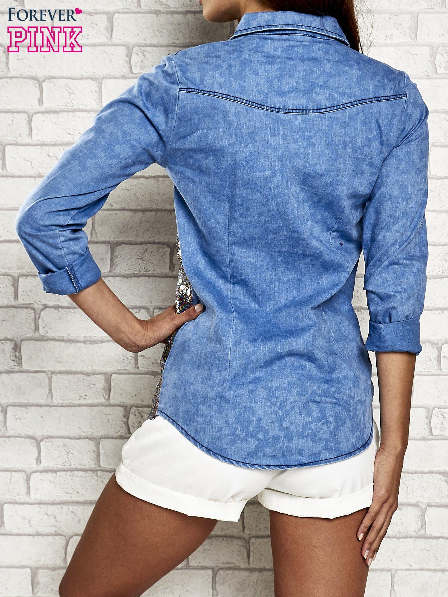 Niebieska jeansowa koszula z cekinami                                  zdj.                                  5