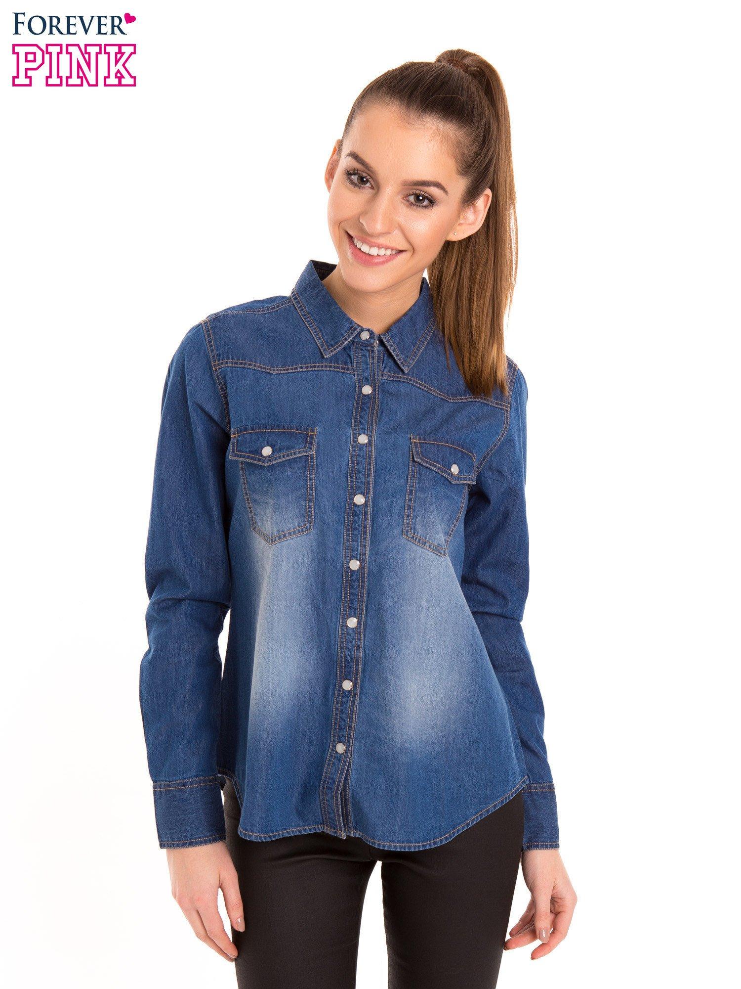 Niebieska jeansowa koszula z przetarciami                                  zdj.                                  1