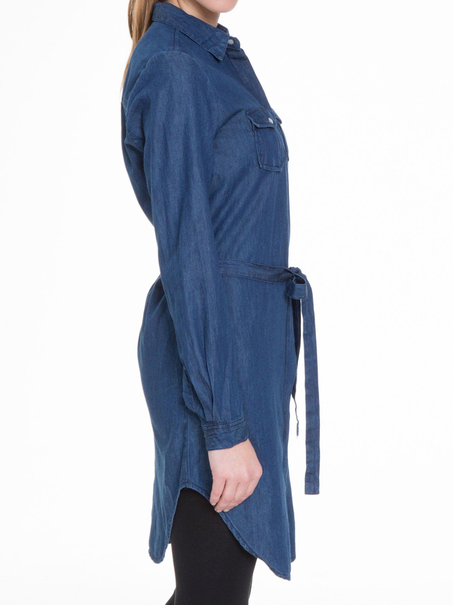 Niebieska jeansowa sukienka typu szmizjerka                                  zdj.                                  7