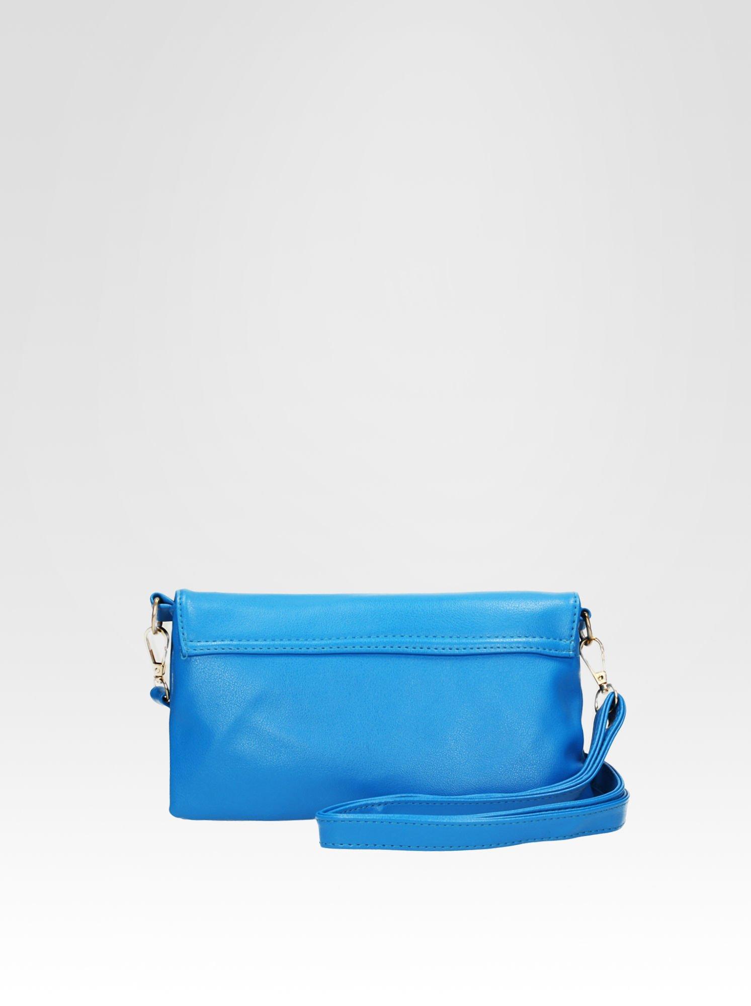 Niebieska kopertówka z dżetami i odpinanym paskiem                                  zdj.                                  4