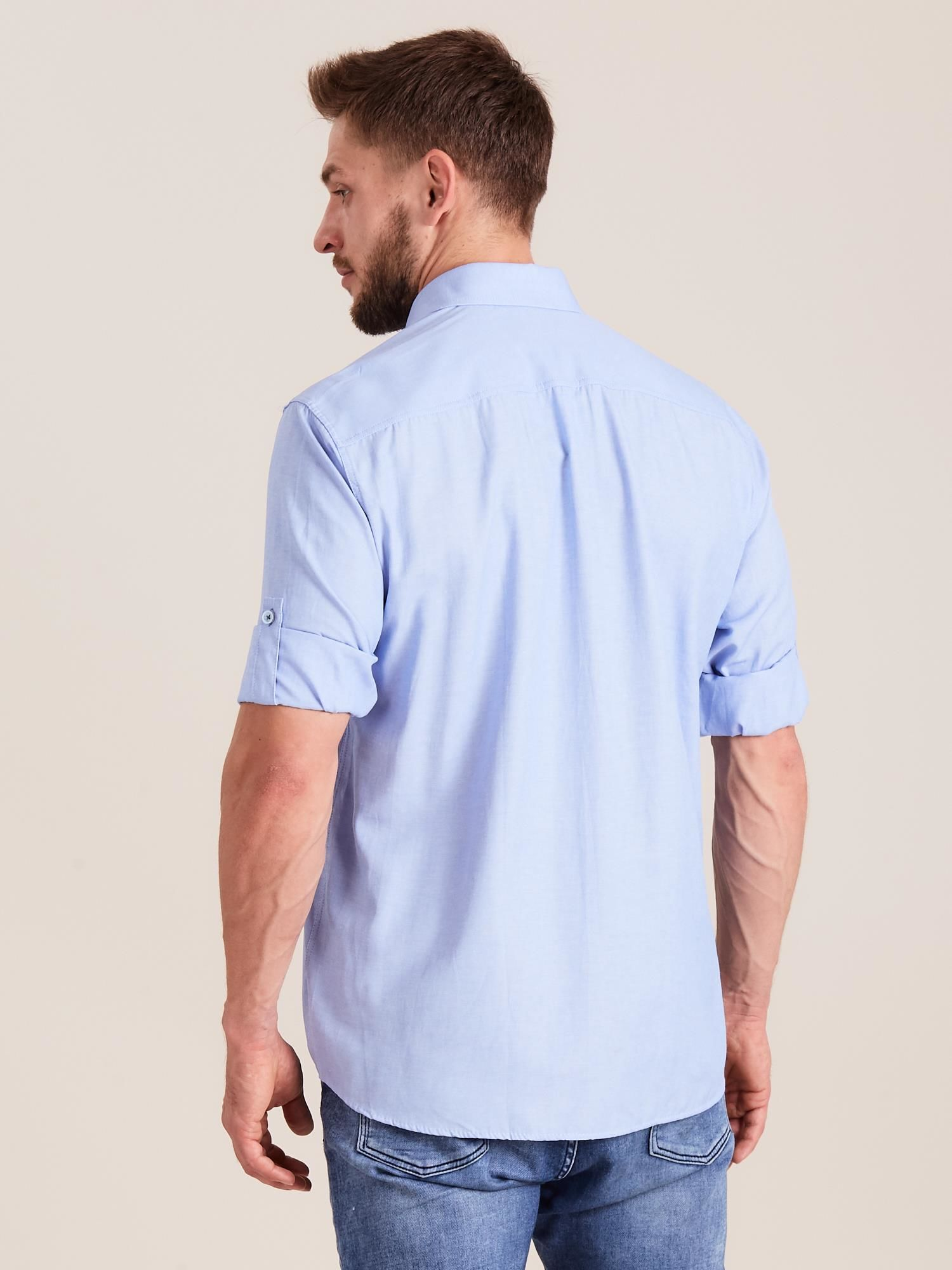 186036e7ed8234 Niebieska koszula męska o regularnym kroju - Mężczyźni koszula męska -  sklep eButik.pl