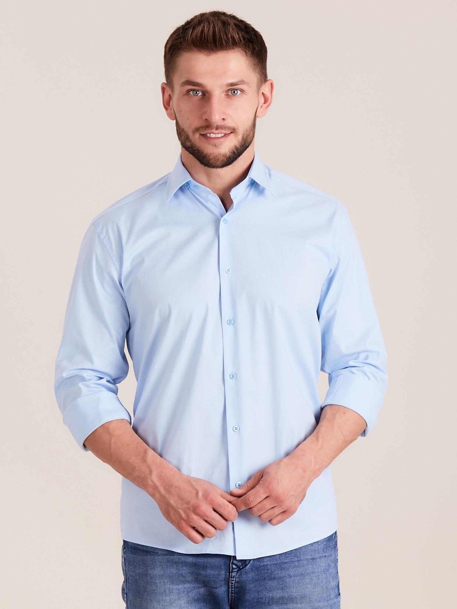 Niebieska koszula męska regular Mężczyźni koszula męska  MdyIv