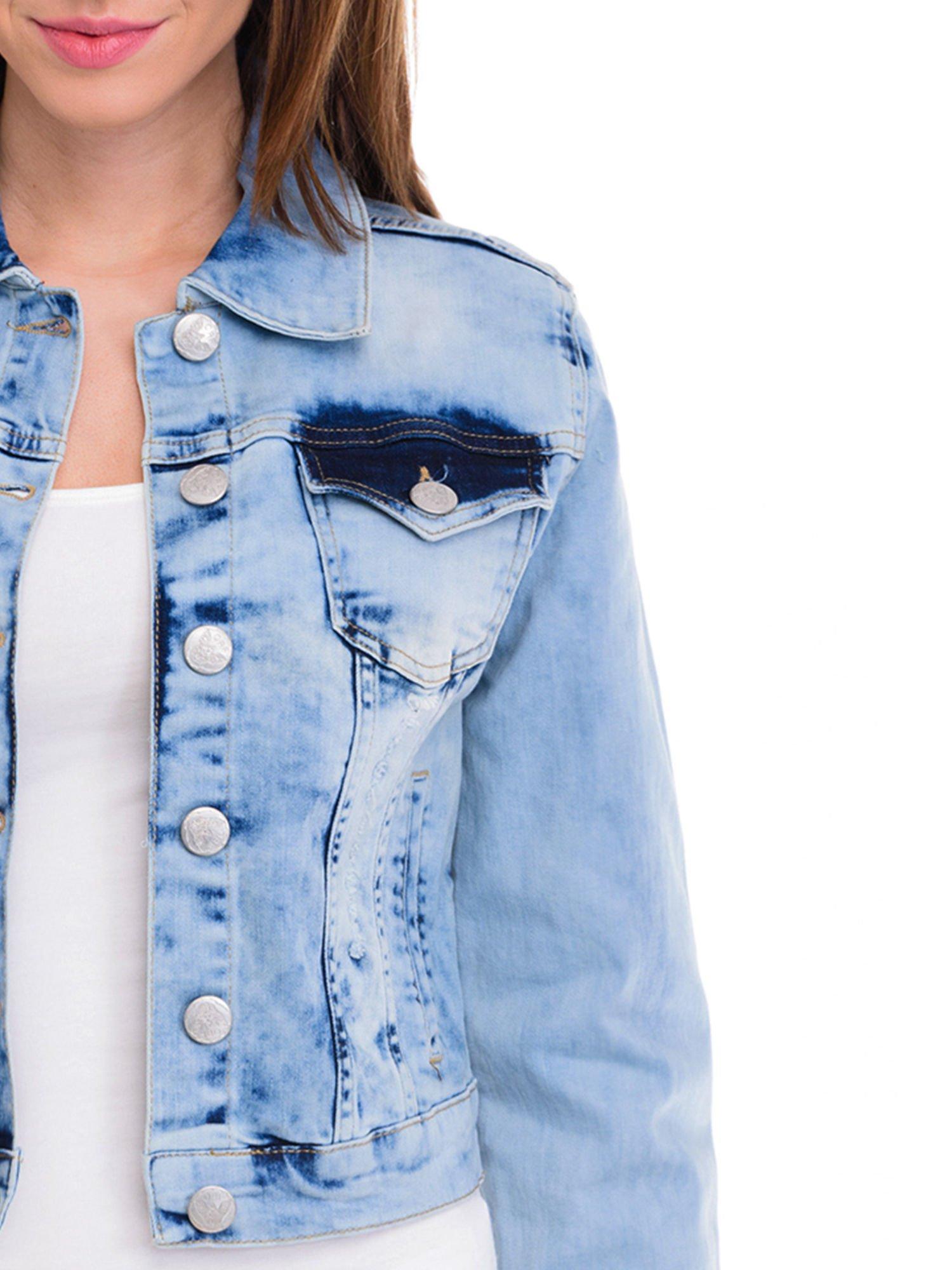 Niebieska kurtka jeansowa damska z cieniowaniem                                  zdj.                                  5